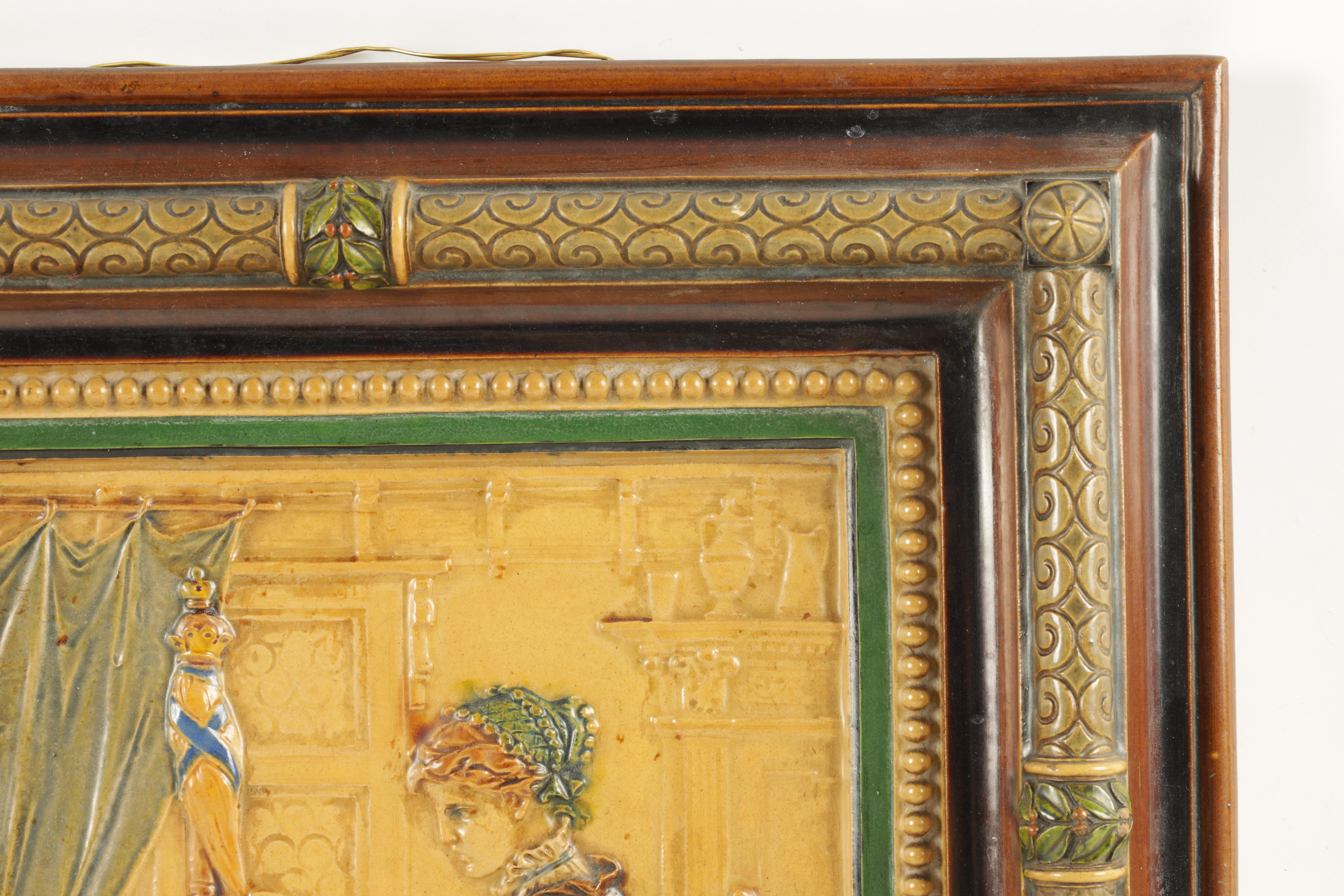 A 19TH CENTURY BORNER & BICHWEILER FIGURAL MAJOLICA HANGING PLAQUE decorated in polychrome colours - - Image 3 of 5