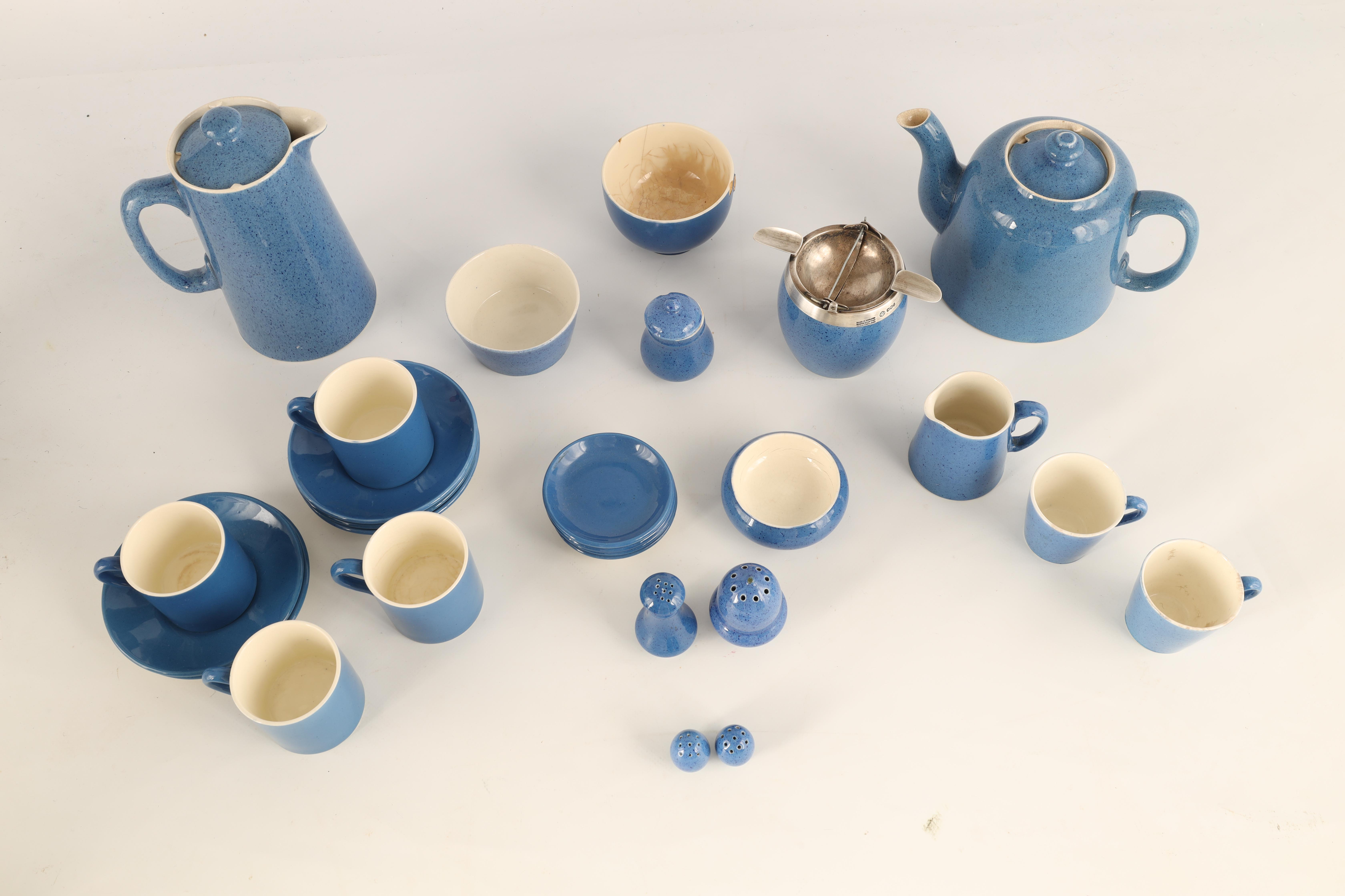 A MOORCROFT BURSLEM 27 PIECE TEA AND COFFEE SERVICE plain blue and mottled ground and comprising - Image 6 of 10