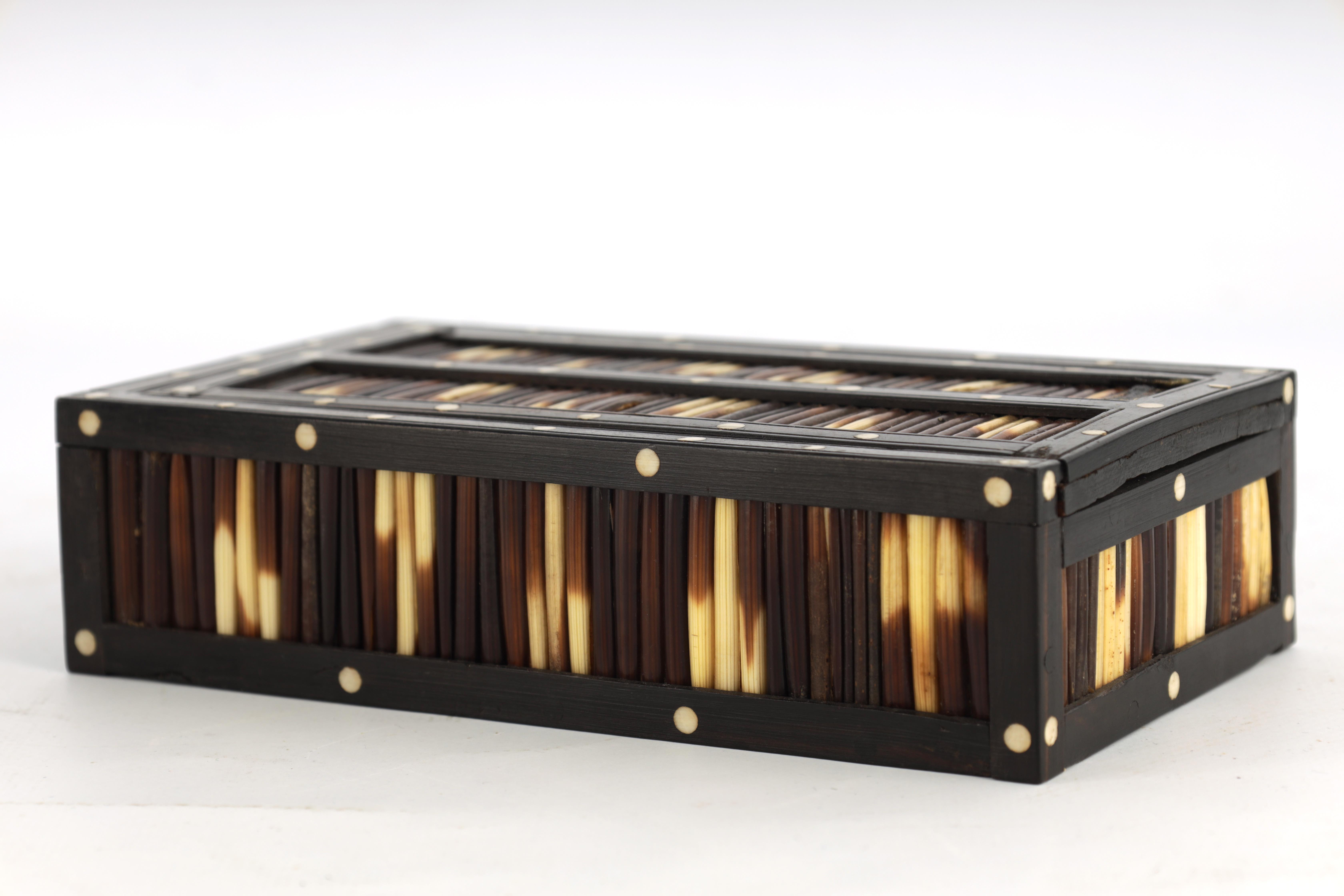 A 19TH CENTURY QUILL BOX with ebony and bone inlaid edges 17cm wide 9.5cm deep 4.5cm high - Image 3 of 7