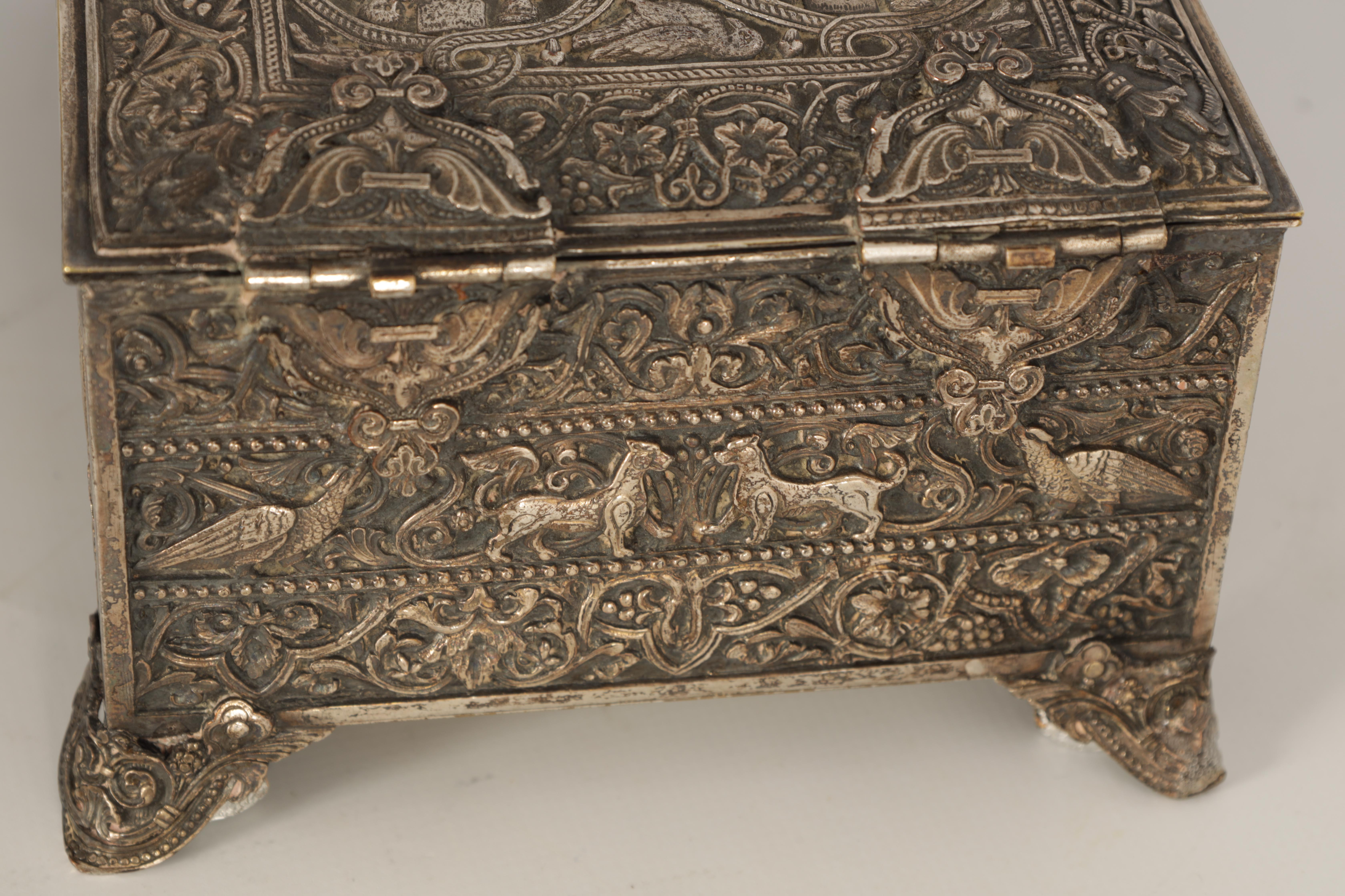 A 19TH CENTURY SILVERED BRONZE JEWELLERY CASKET the lid with intricate relief groups of birds, - Image 10 of 12