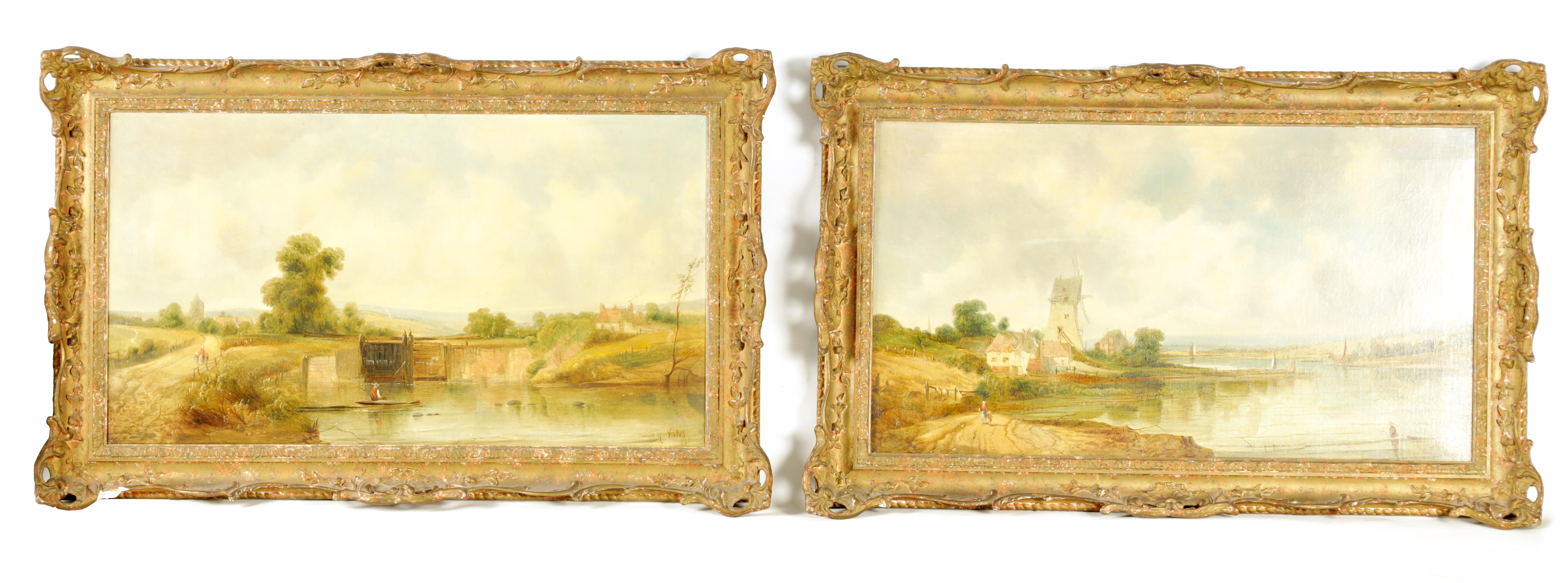 ALFRED H. VICKERS A PAIR OF MID 19TH CENTURY OILS ON CANVAS depicting river landscapes - signed