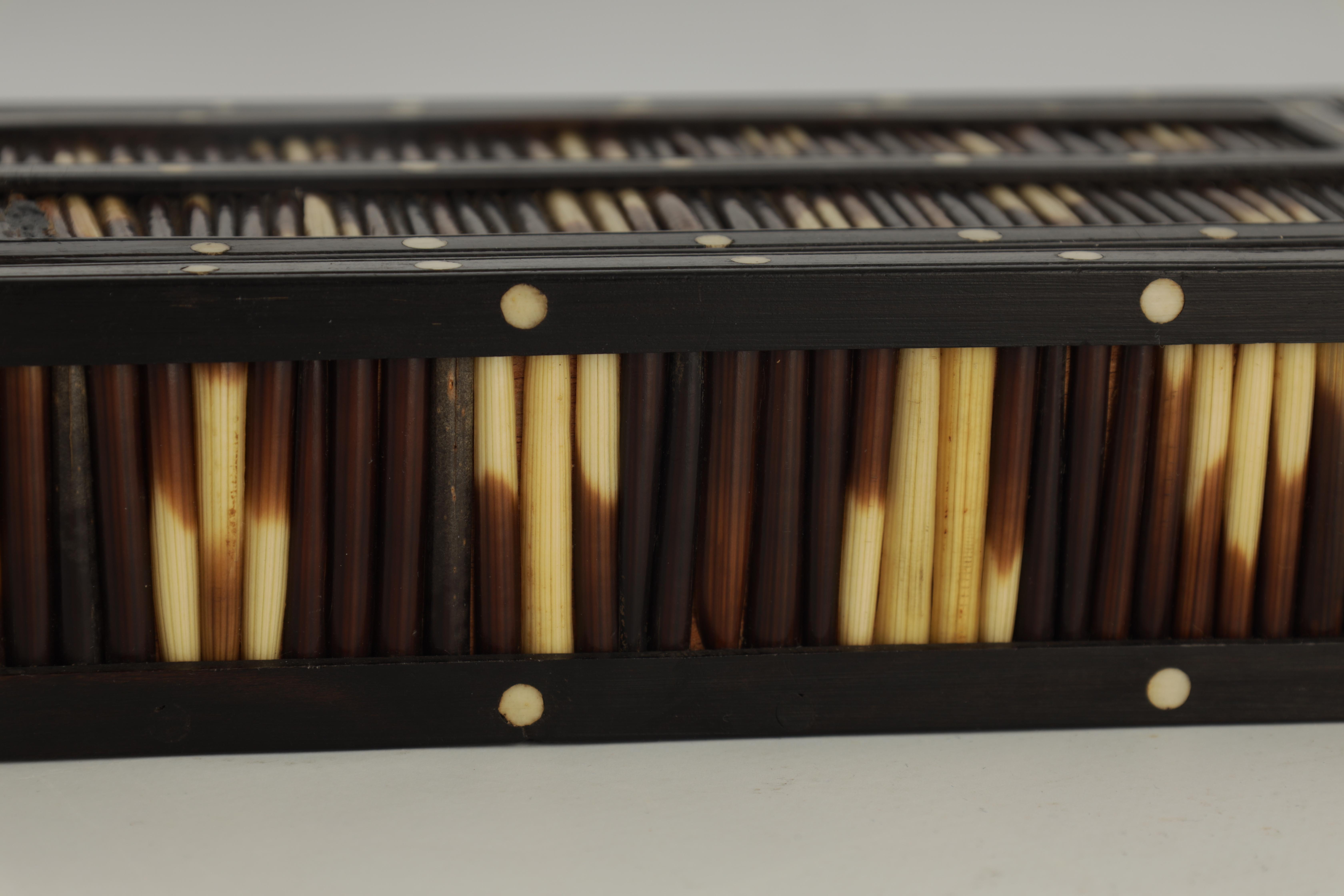 A 19TH CENTURY QUILL BOX with ebony and bone inlaid edges 17cm wide 9.5cm deep 4.5cm high - Image 2 of 7
