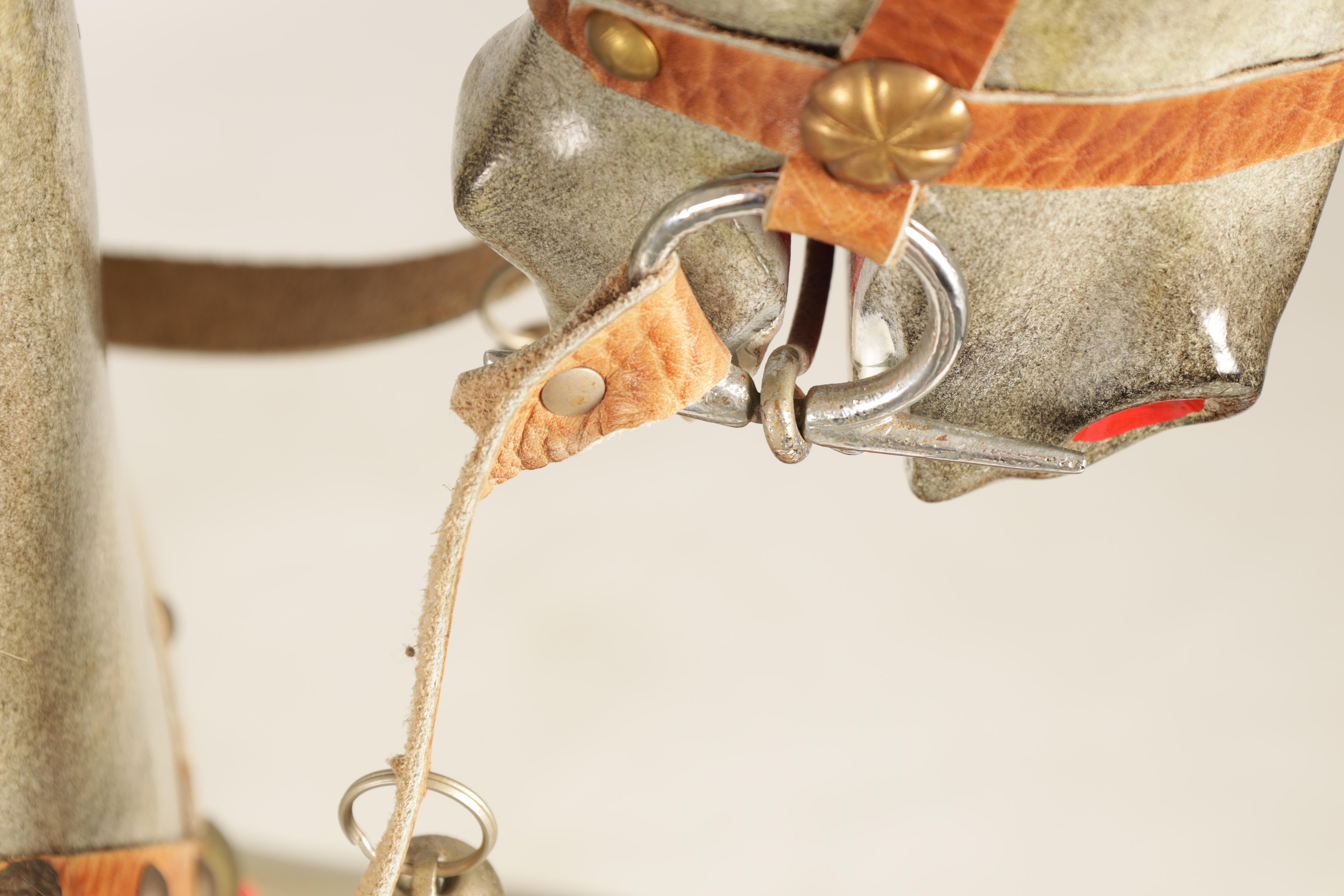 A 20TH CENTURY DAPPLE GREY PAINTED WOODEN ROCKING HORSE with leather seat and bridle 138cm wide - Image 5 of 8