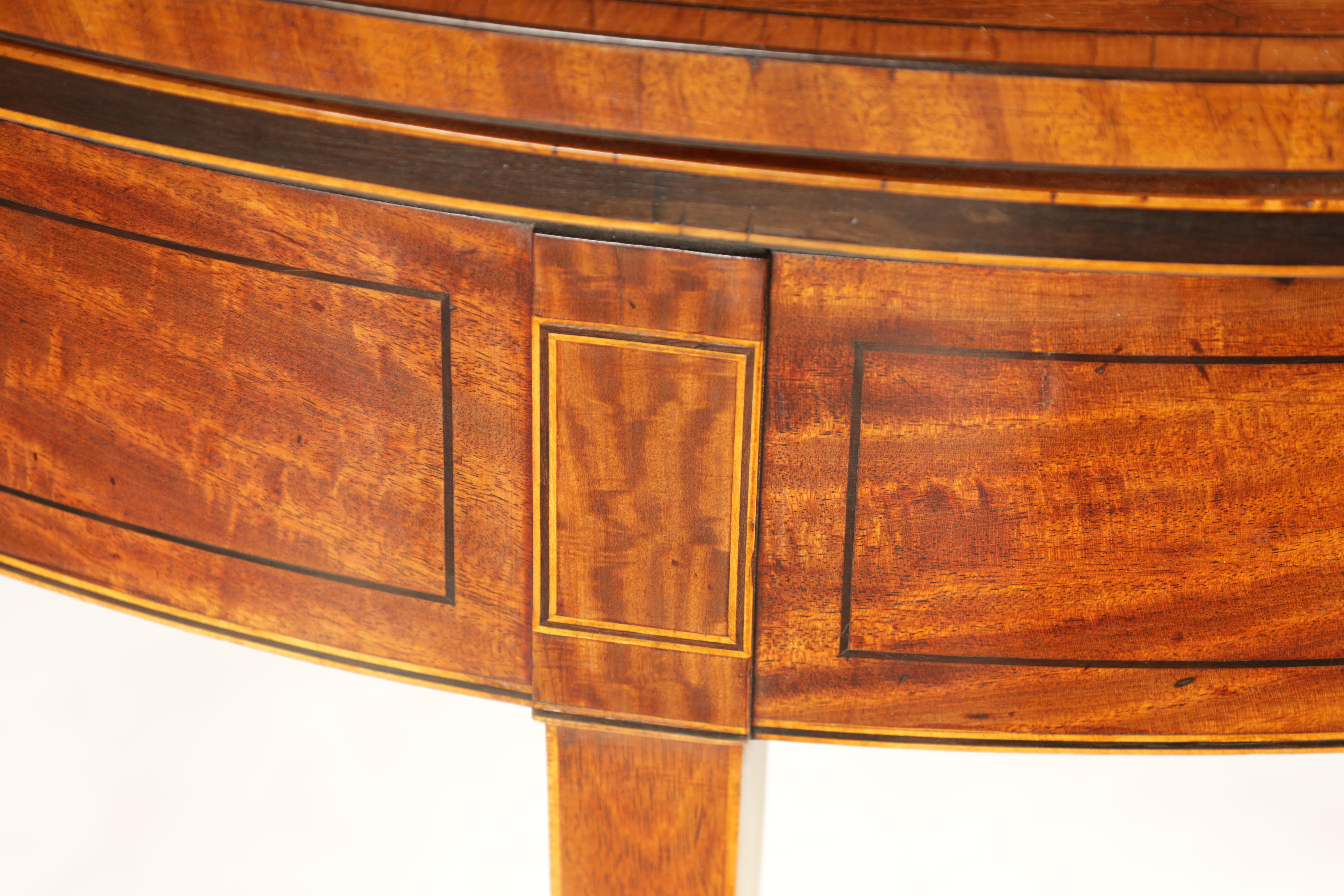 A GEORGE III FIGURED SATINWOOD D END TEA TABLE with hinged top and double gate rear legs; standing - Image 5 of 8