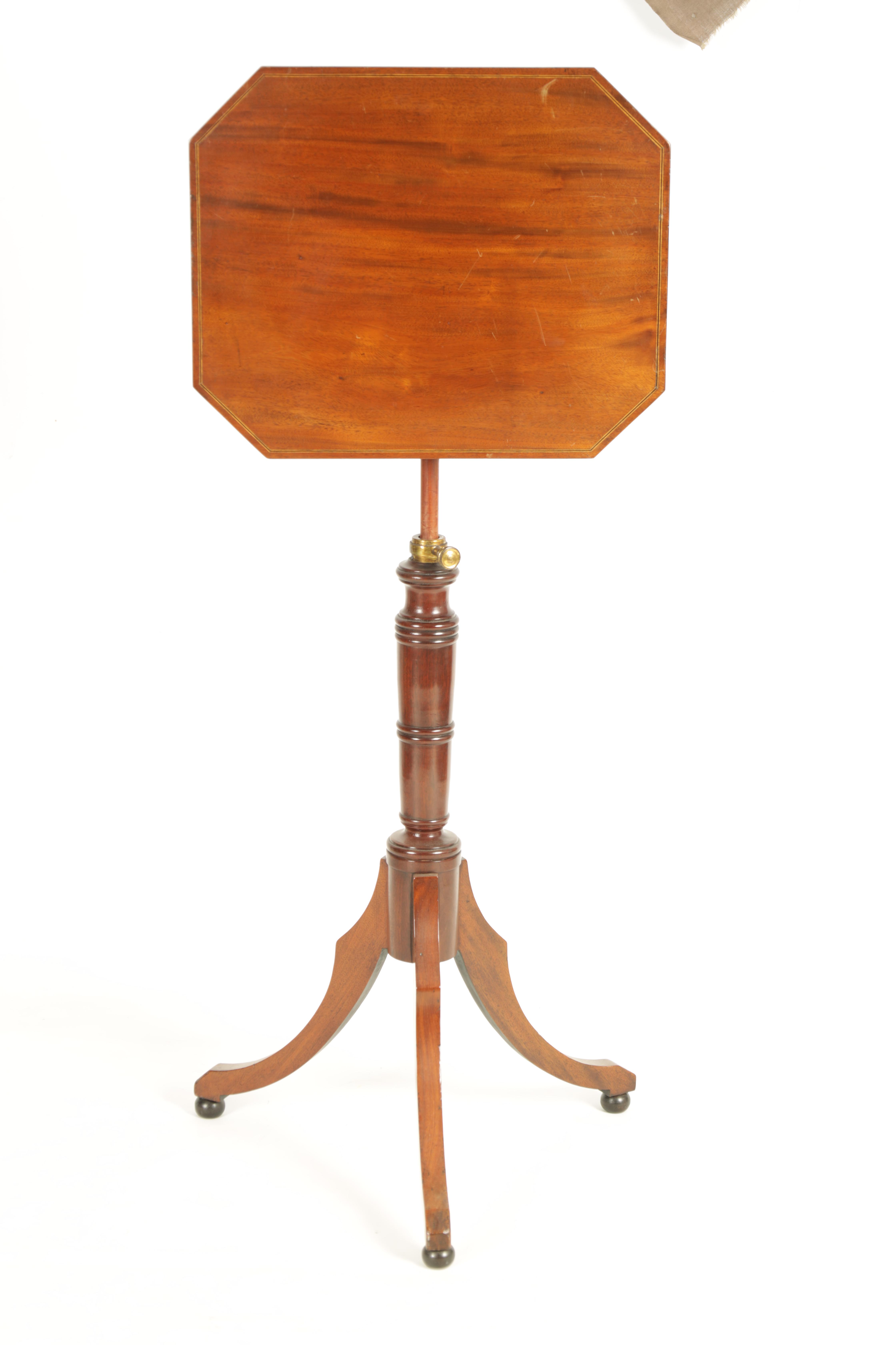 A REGENCY MAHOGANY ADJUSTABLE OCCASIONAL/READING TABLE with clipped corners and tilting top, - Image 8 of 9
