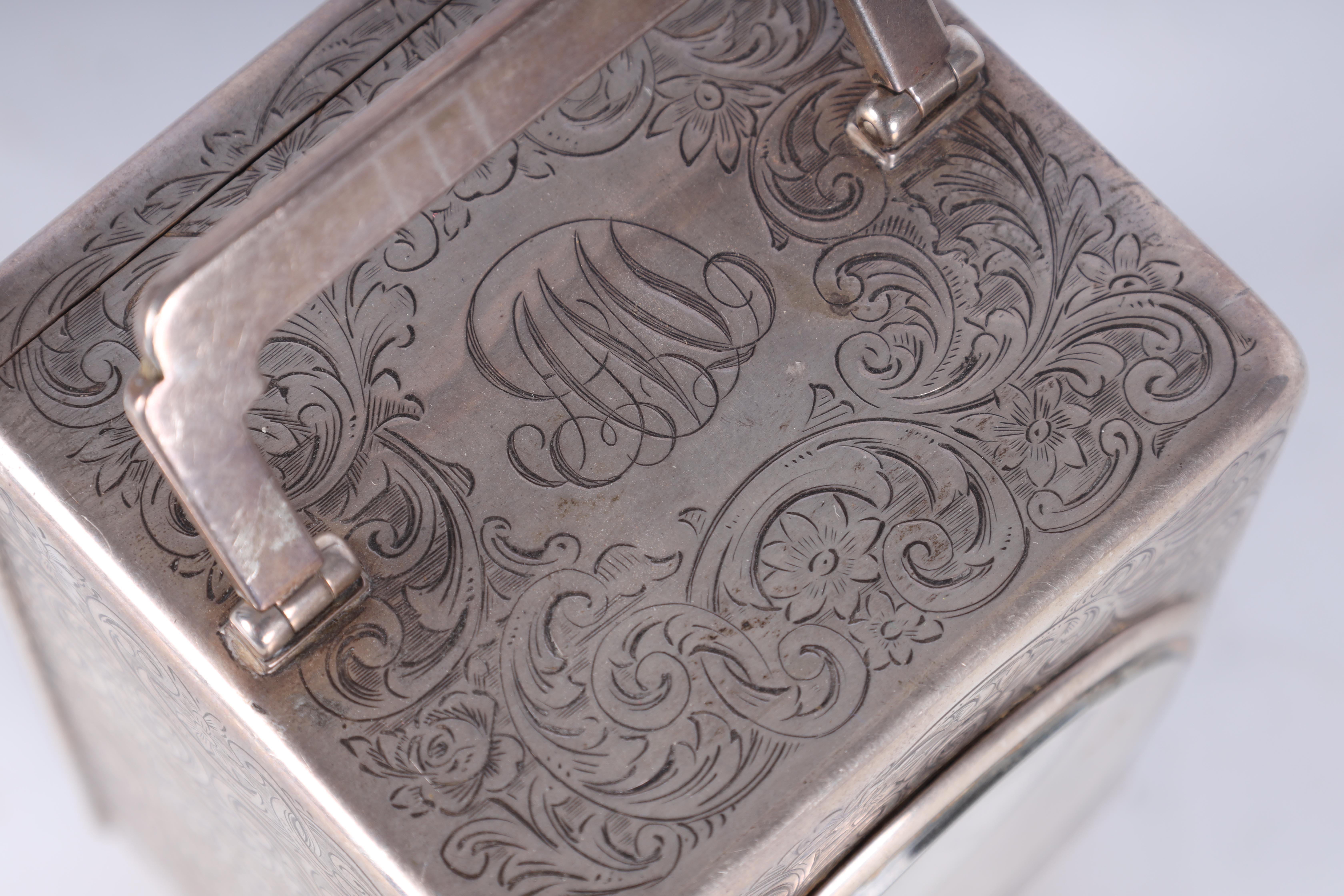 A LARGE EARLY 20TH CENTURY SILVER CASED CARRIAGE CLOCK the case covered with scrolling foliated - Image 5 of 10