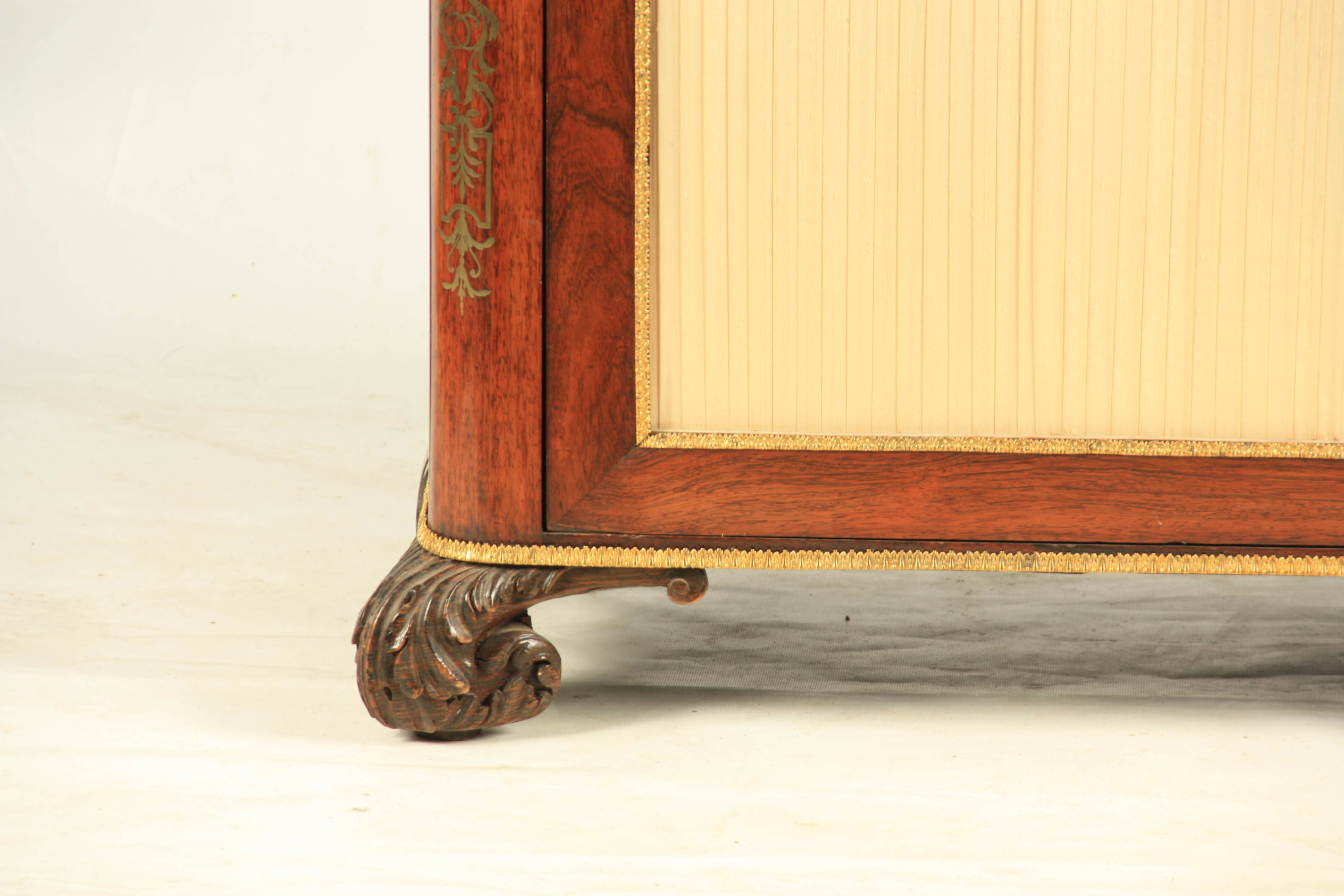 A FINE REGENCY BRASS INLAID ROSEWOOD SIDE CABINET IN THE MANNER OF JOHN MCCLEAN the brass - Image 2 of 7