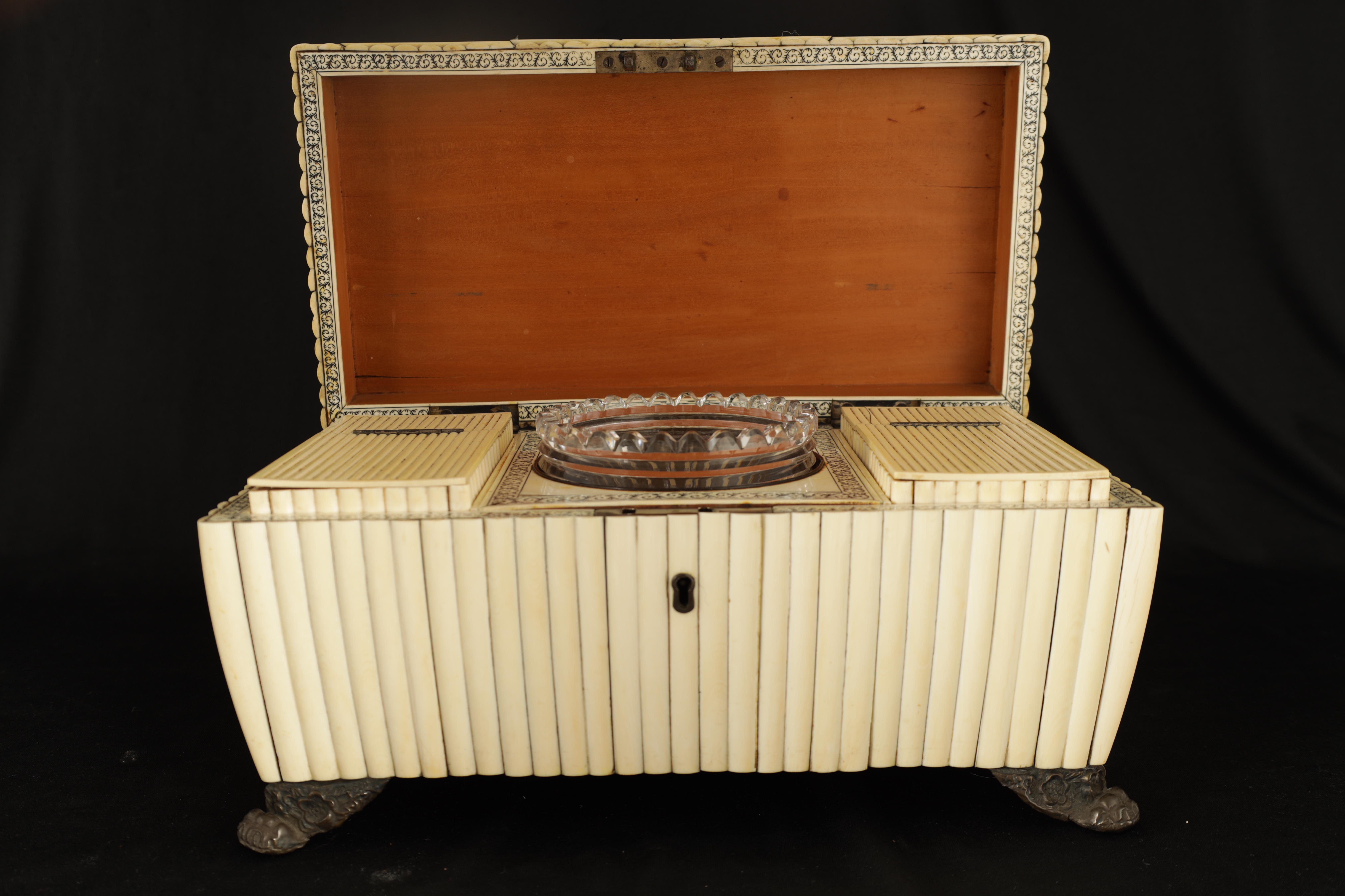 A REGENCY ANGLO-INDIAN IVORY AND SANDALWOOD VIZAGAPATAM TEA CADDY of sarcophagus form with gadroon - Image 3 of 12