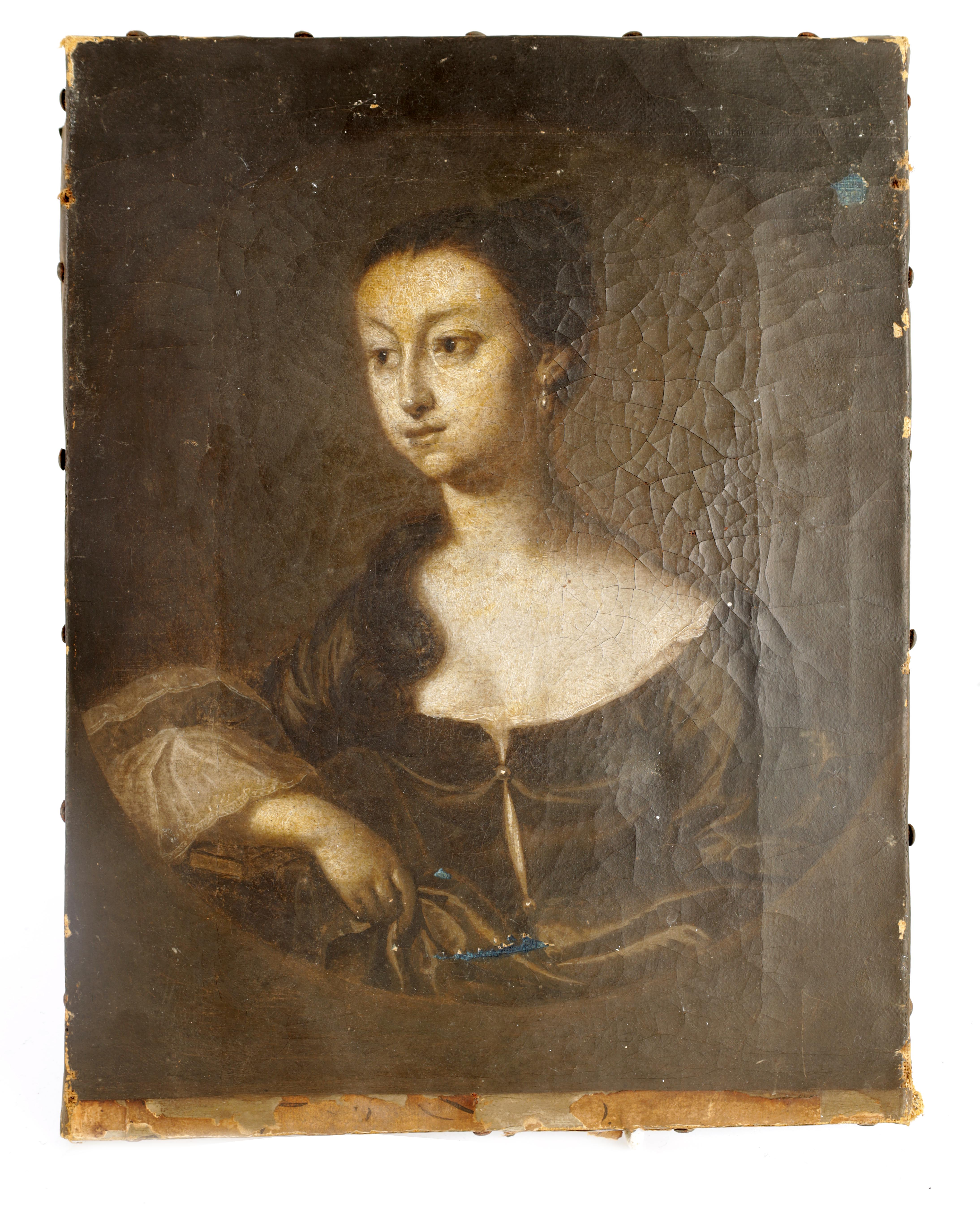 """AN 18TH CENTURY OIL ON CANVAS MONOCHROME PORTRAIT OF A YOUNG LADY inscribed on reverse """"Jane ??"""
