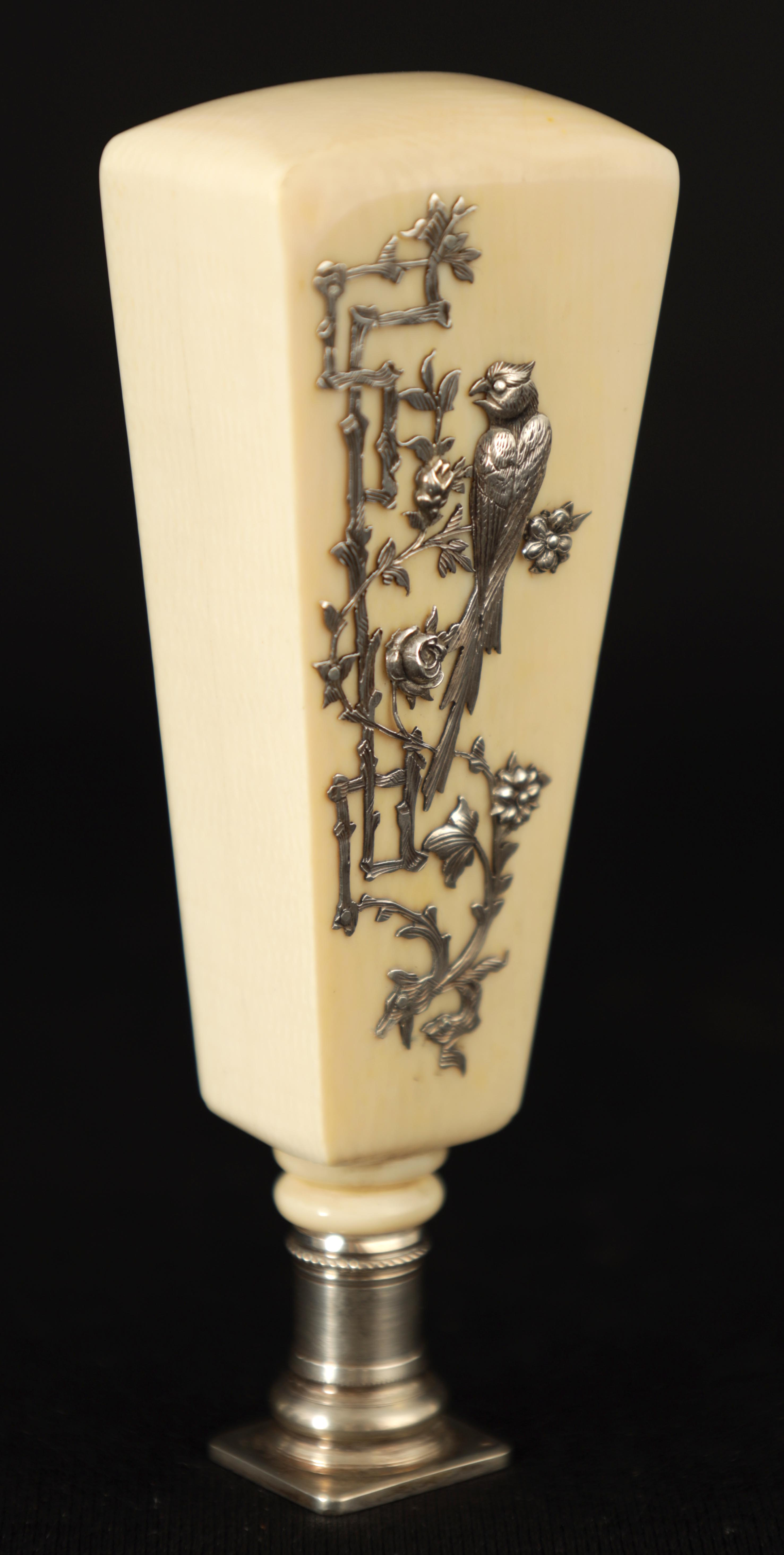 A LATE 19TH CENTURY FRENCH IVORY AND SILVER SEAL the tapered handle decorated with finely pierced