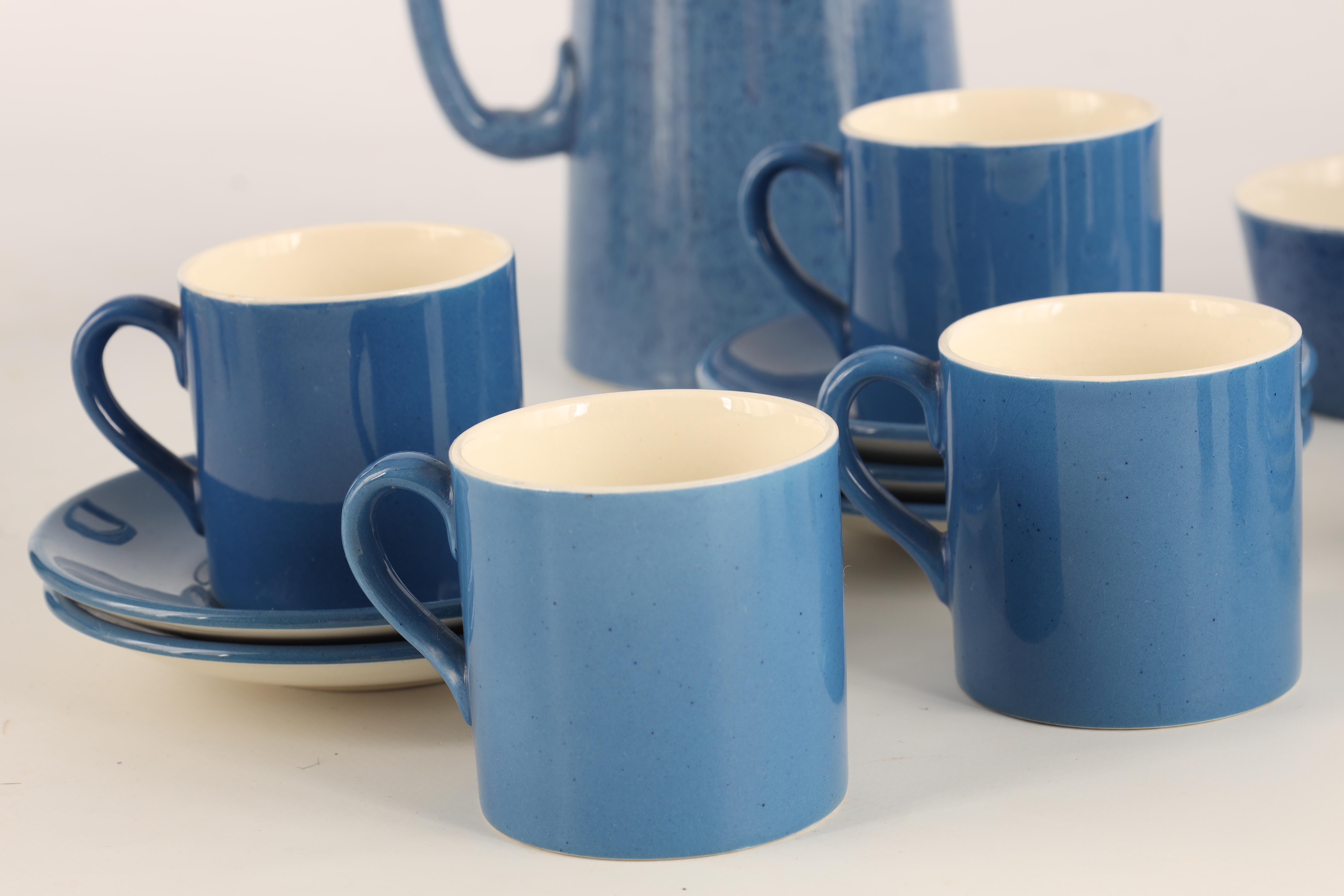 A MOORCROFT BURSLEM 27 PIECE TEA AND COFFEE SERVICE plain blue and mottled ground and comprising - Image 4 of 10