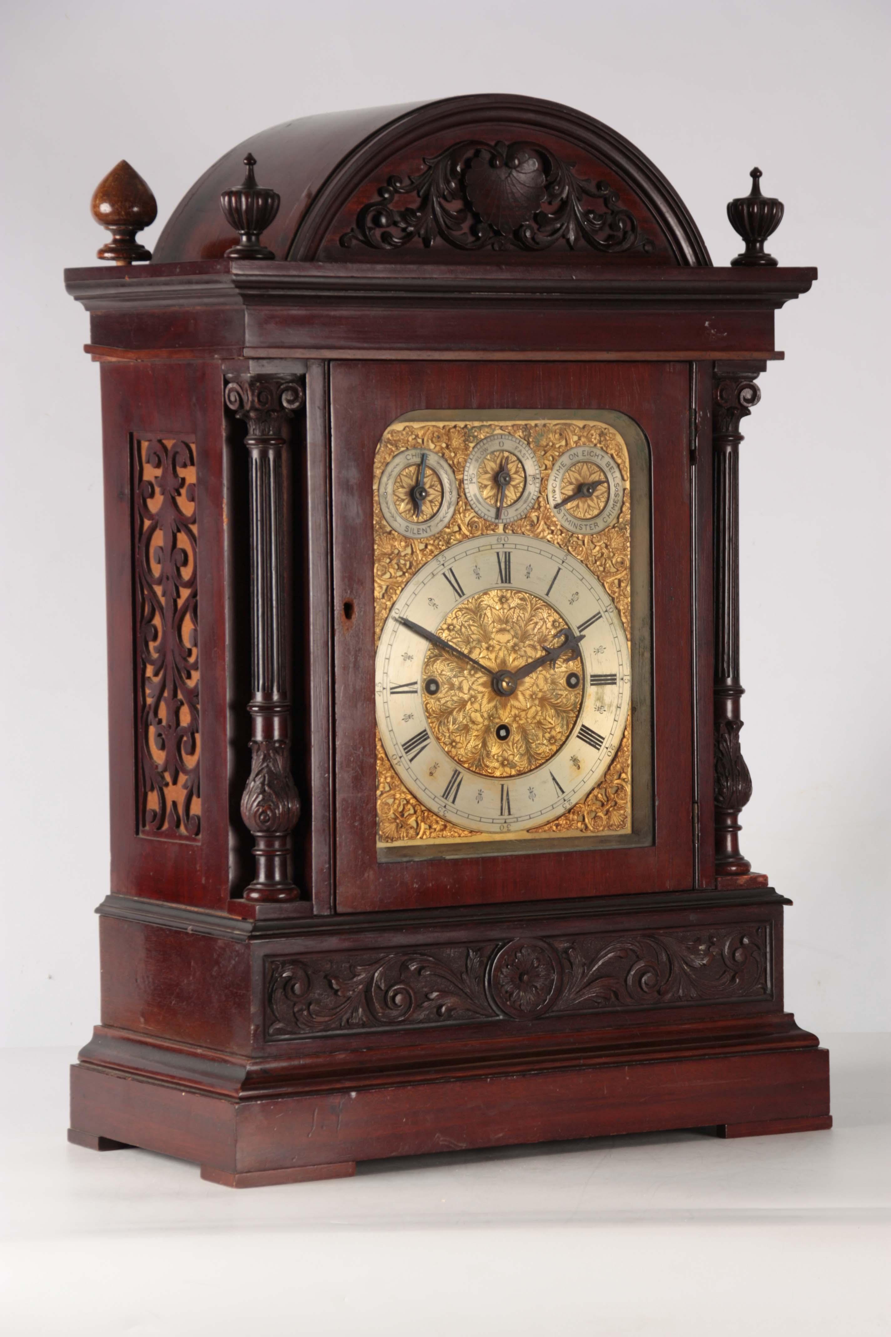A LATE 19TH CENTURY QUARTER CHIMING TRIPLE FUSEE BRACKET CLOCK the large mahogany case with arched - Image 7 of 7