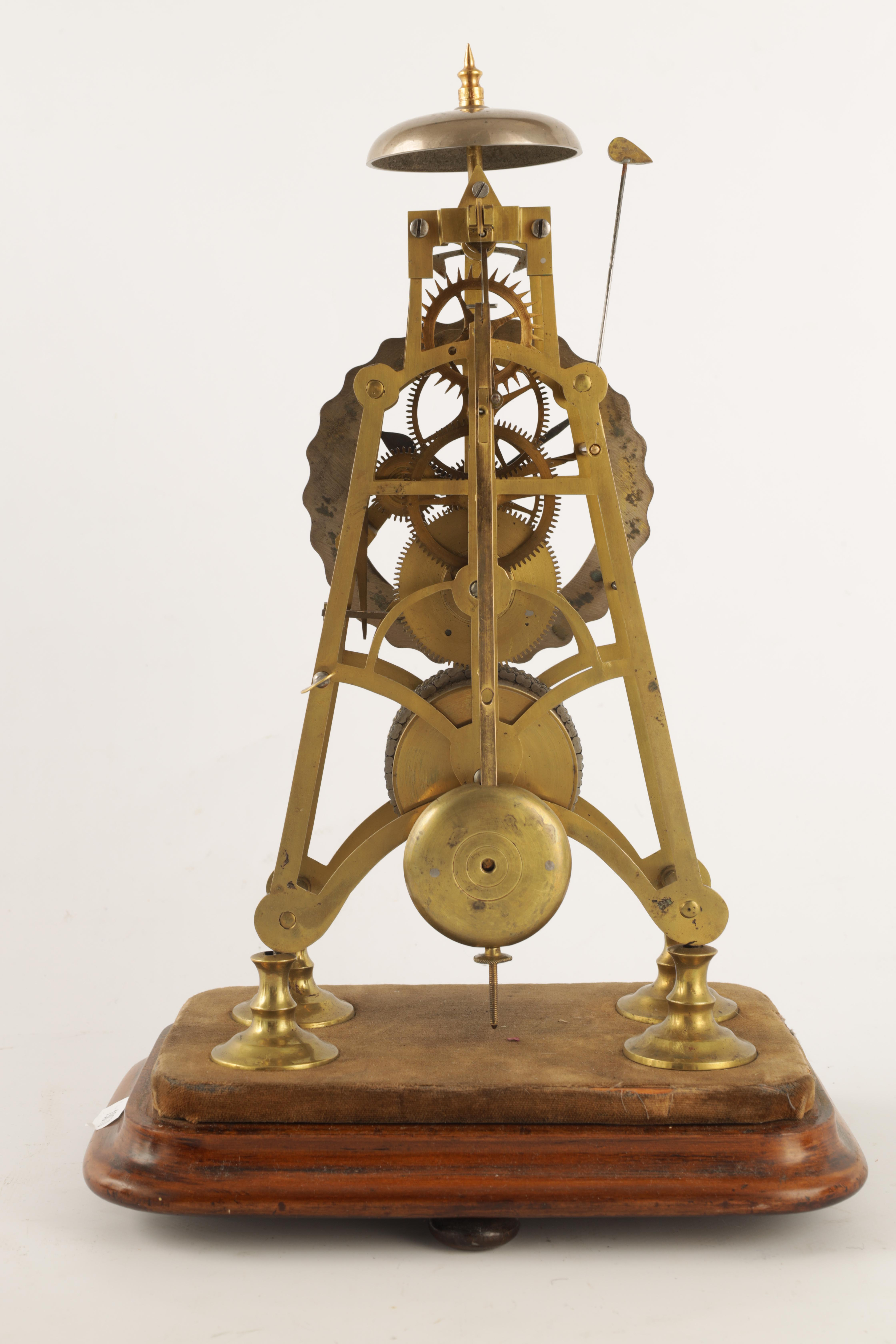 A 19TH CENTURY 8-DAY FUSEE TIMEPIECE SKELETON CLOCK with passing hour bell strike, tapering plates - Image 5 of 6
