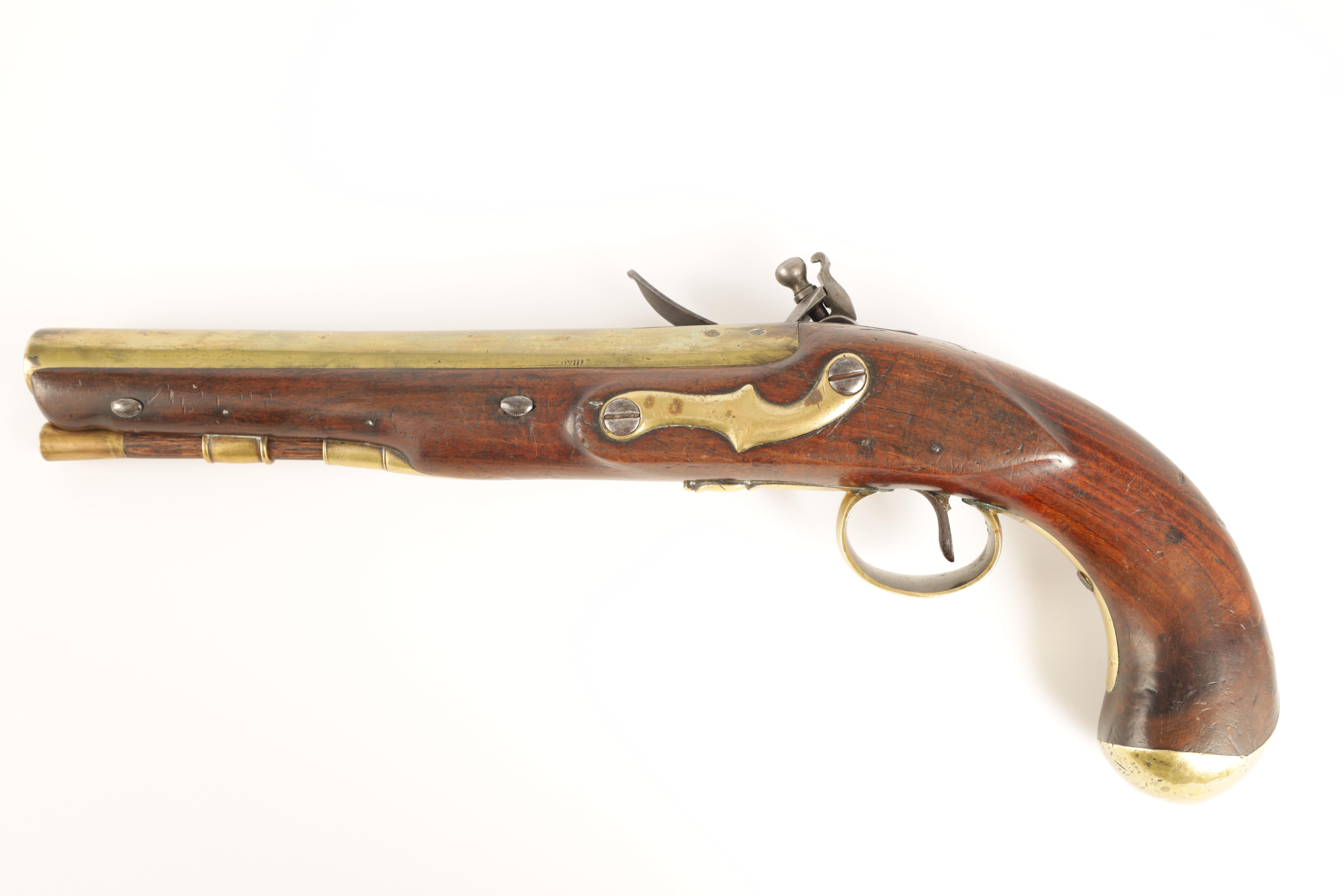 H.W. MORTIMER, LONDON. A RARE GEORGE III ROYAL MAIL COACH FLINTLOCK PISTOL with brass barrel - Image 8 of 9