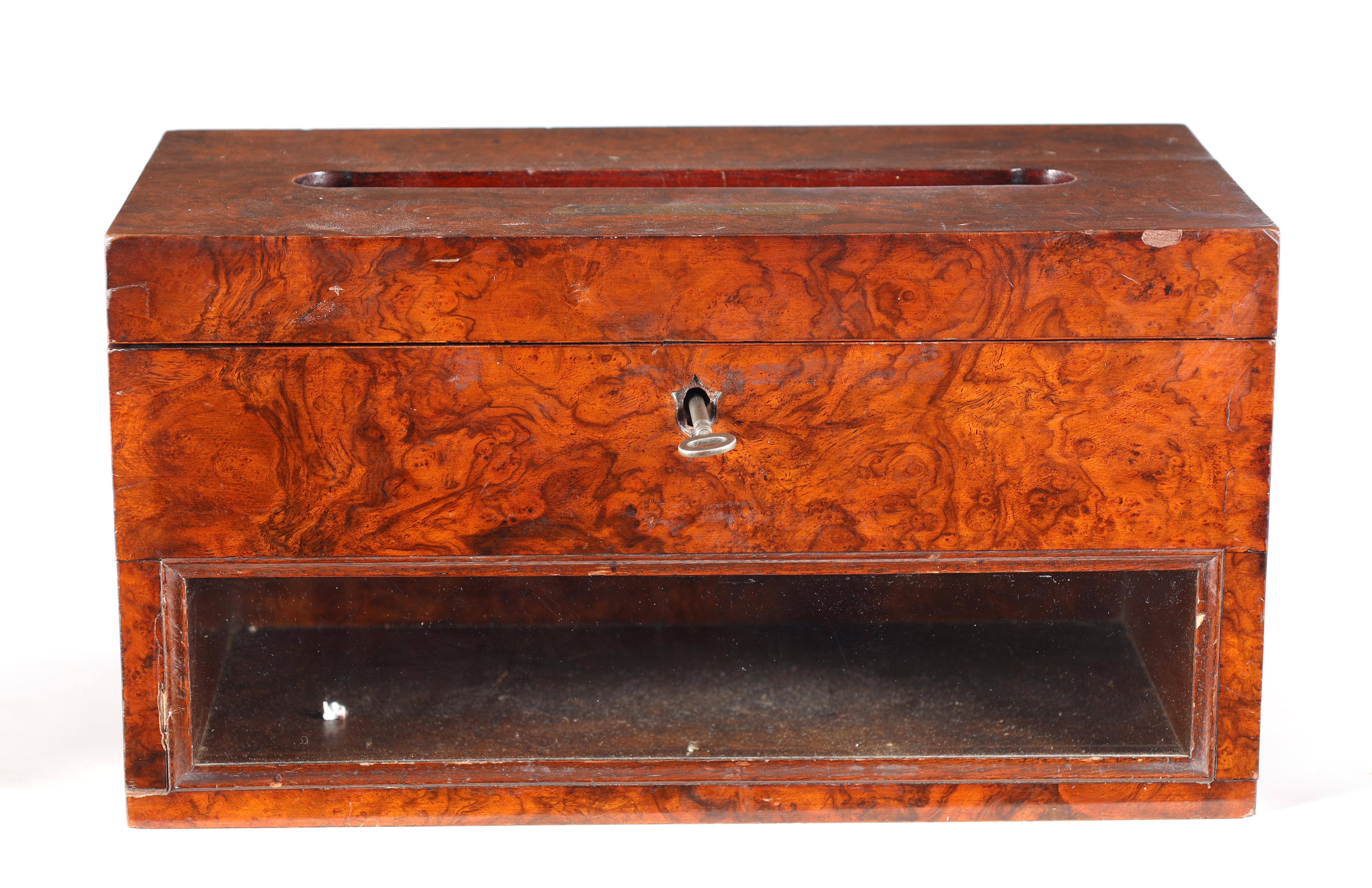 A 19TH CENTURY BURR WALNUT COUNTRY HOUSE LETTERBOX with brass inlaid plaque engraved General Post, - Image 5 of 7