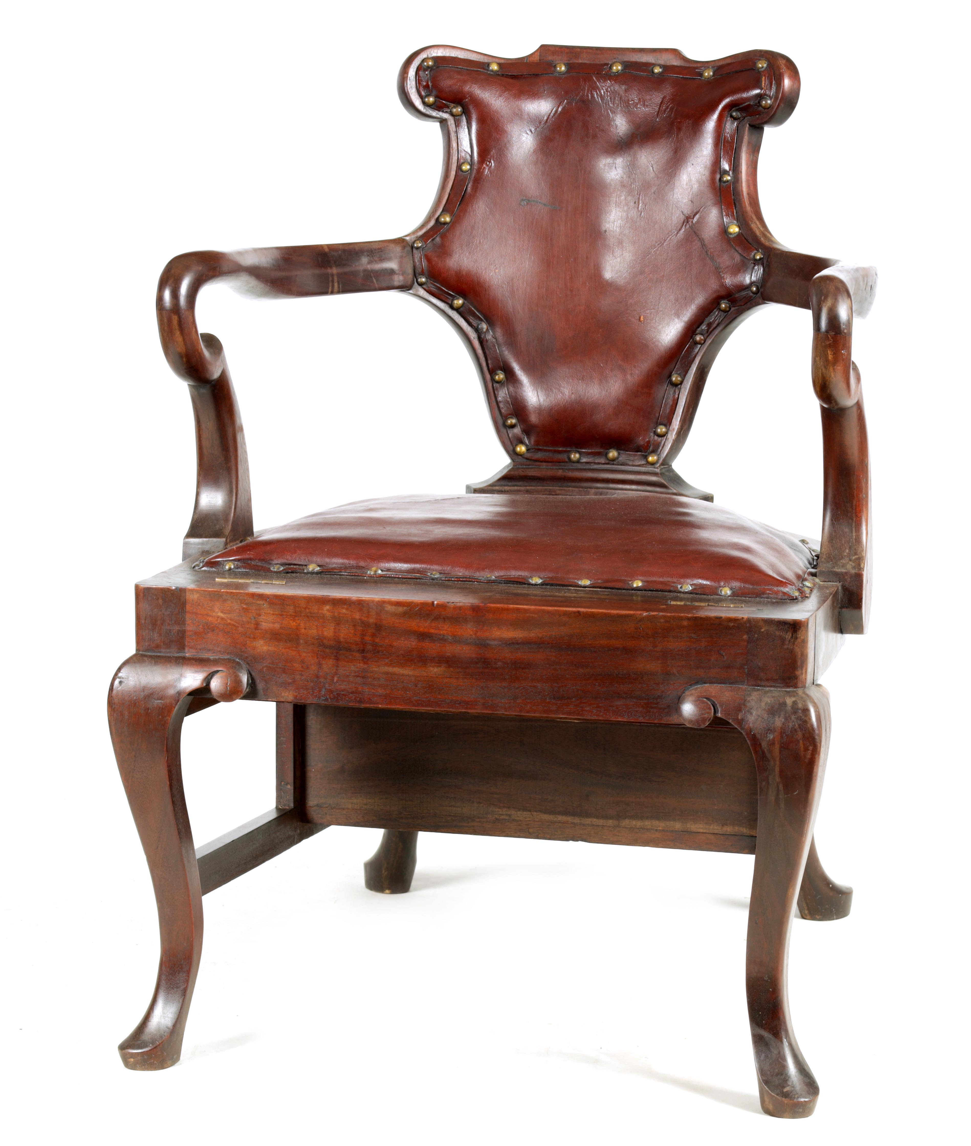 A 19TH CENTURY GEORGE II STYLE METAMORPHIC ARMCHAIR/LIBRARY STEPS with shaped back and crook arms