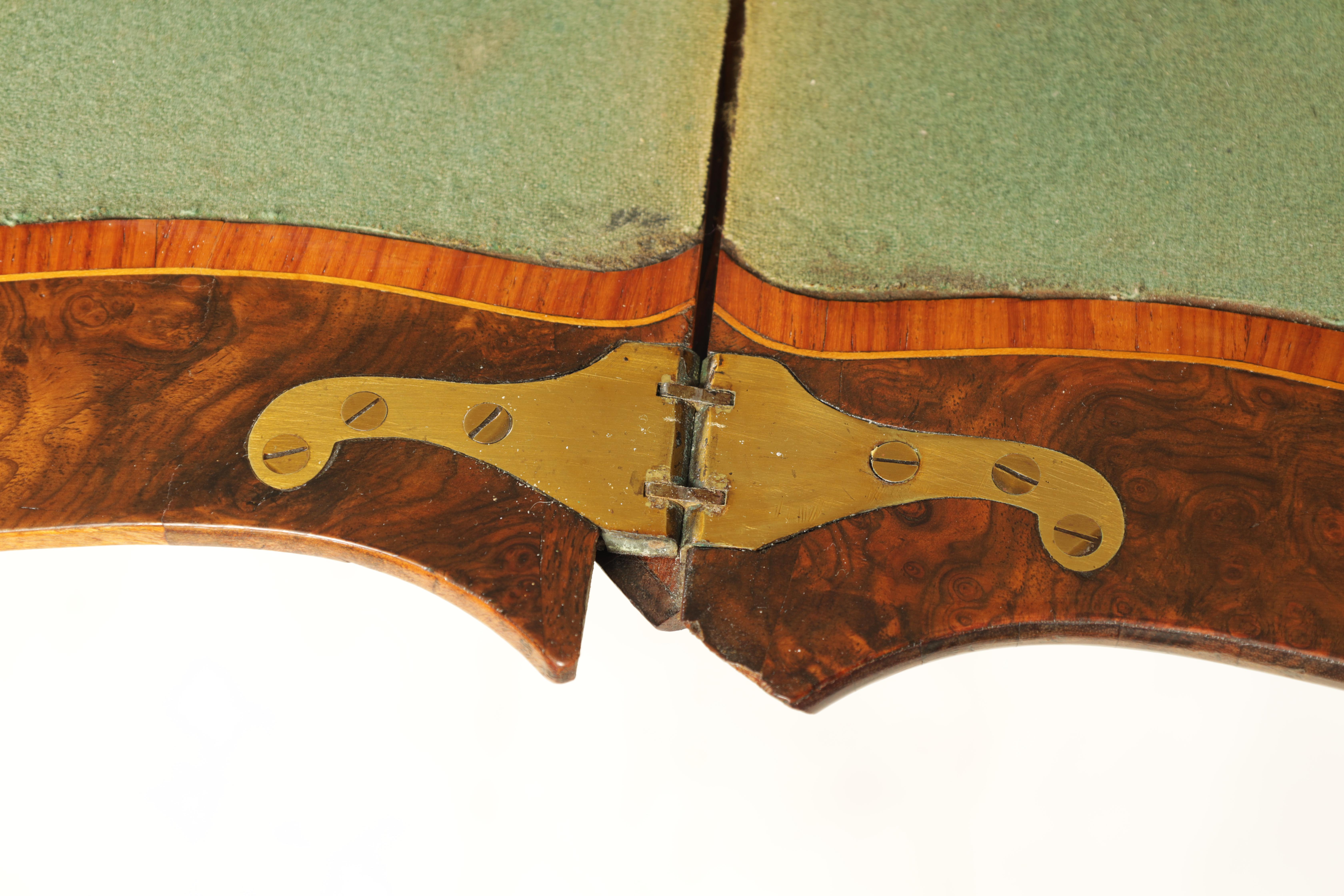 A 19TH CENTURY FRENCH KINGWOOD CROSS-BANDED BURR WALNUT SERPENTINE CARD TABLE with ormolu mounts and - Image 9 of 13