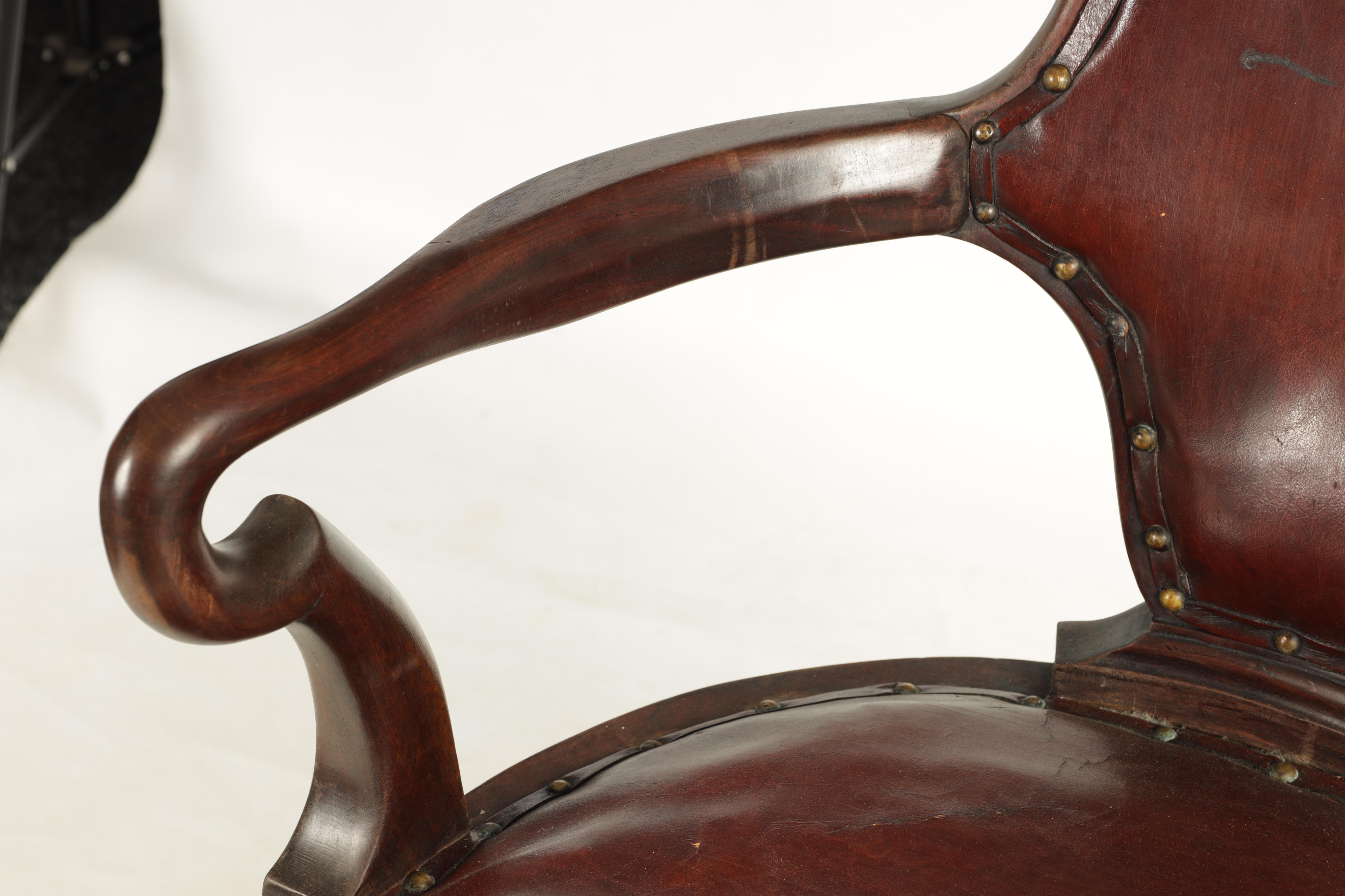A 19TH CENTURY GEORGE II STYLE METAMORPHIC ARMCHAIR/LIBRARY STEPS with shaped back and crook arms - Image 4 of 8