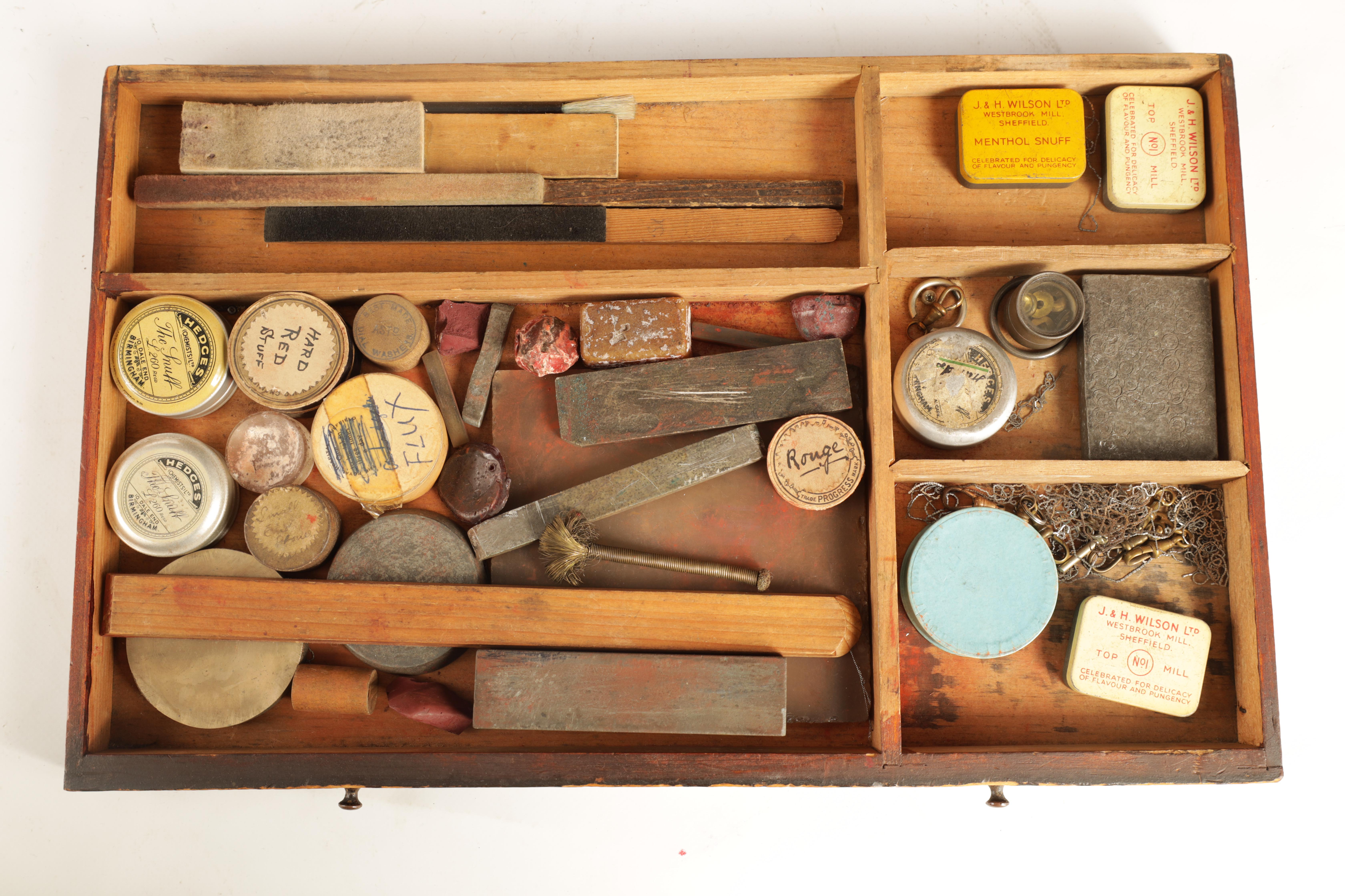 A LARGE COLLECTION OF JEWELERS AND WATCHMAKERS TOOLS contained in a set of pine drawers - Image 8 of 12