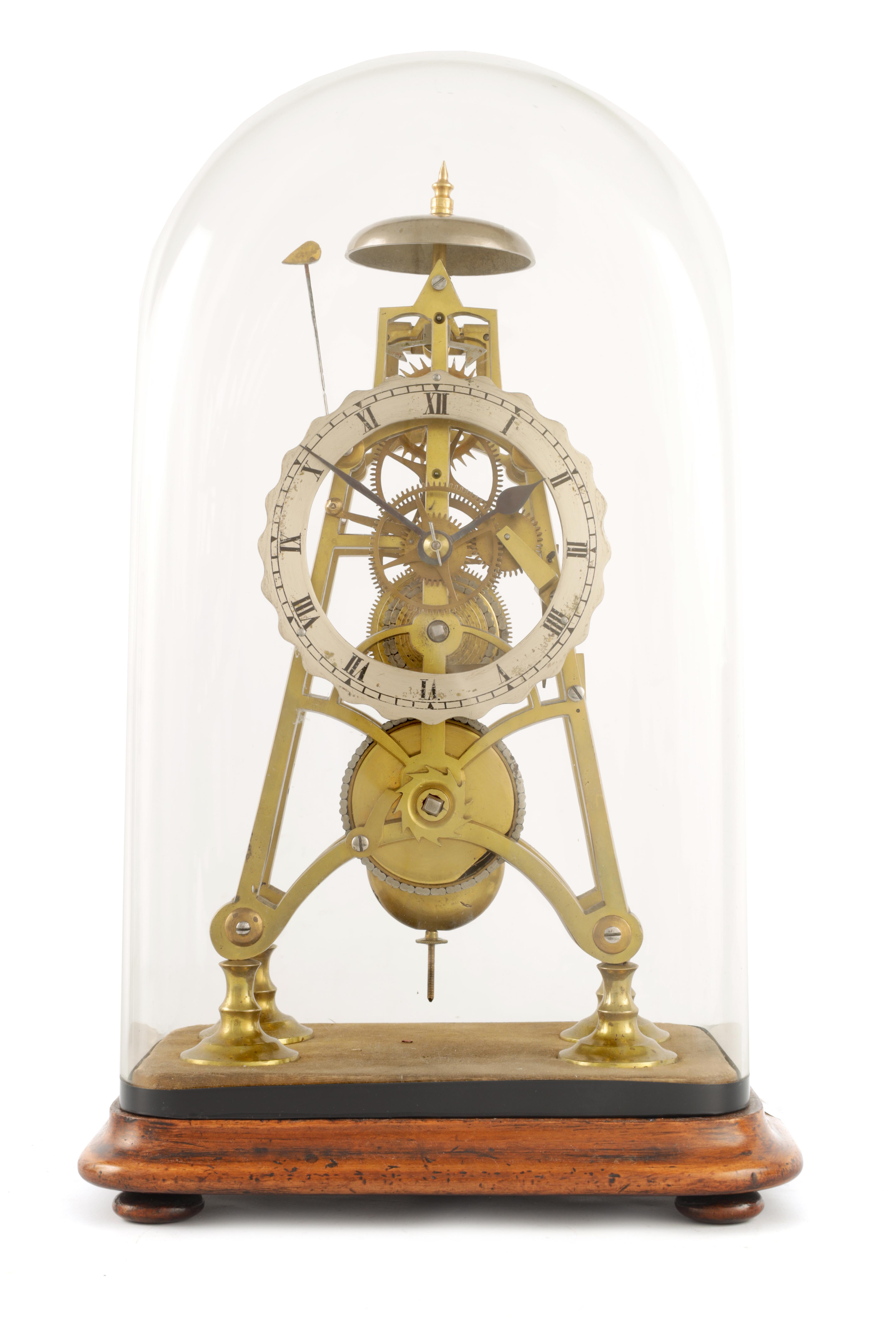 A 19TH CENTURY 8-DAY FUSEE TIMEPIECE SKELETON CLOCK with passing hour bell strike, tapering plates