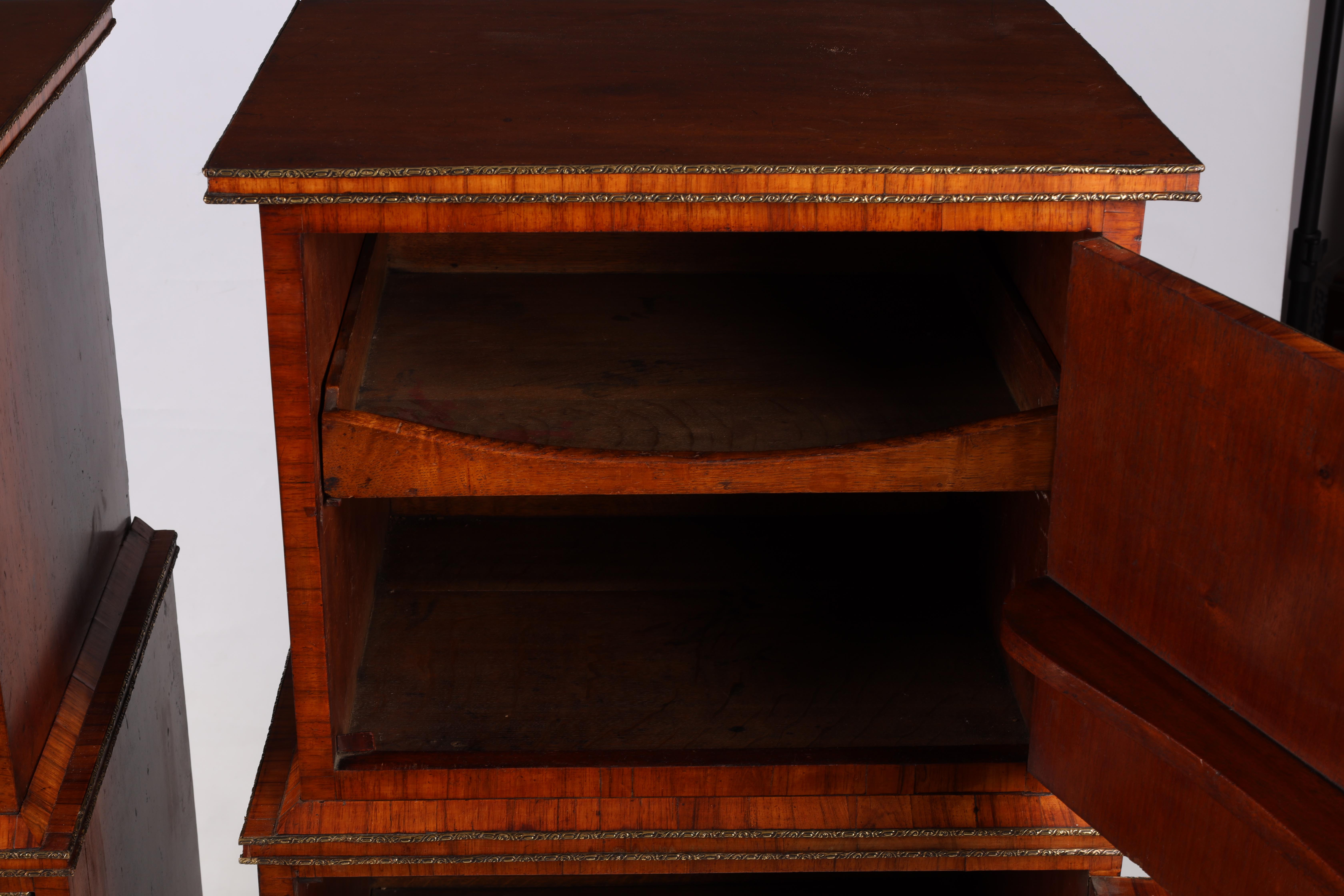 A LARGE PAIR OF GEORGE III KINGWOOD BANDED MAHOGANY PEDESTALS with unusual pen work panels depicting - Image 7 of 11