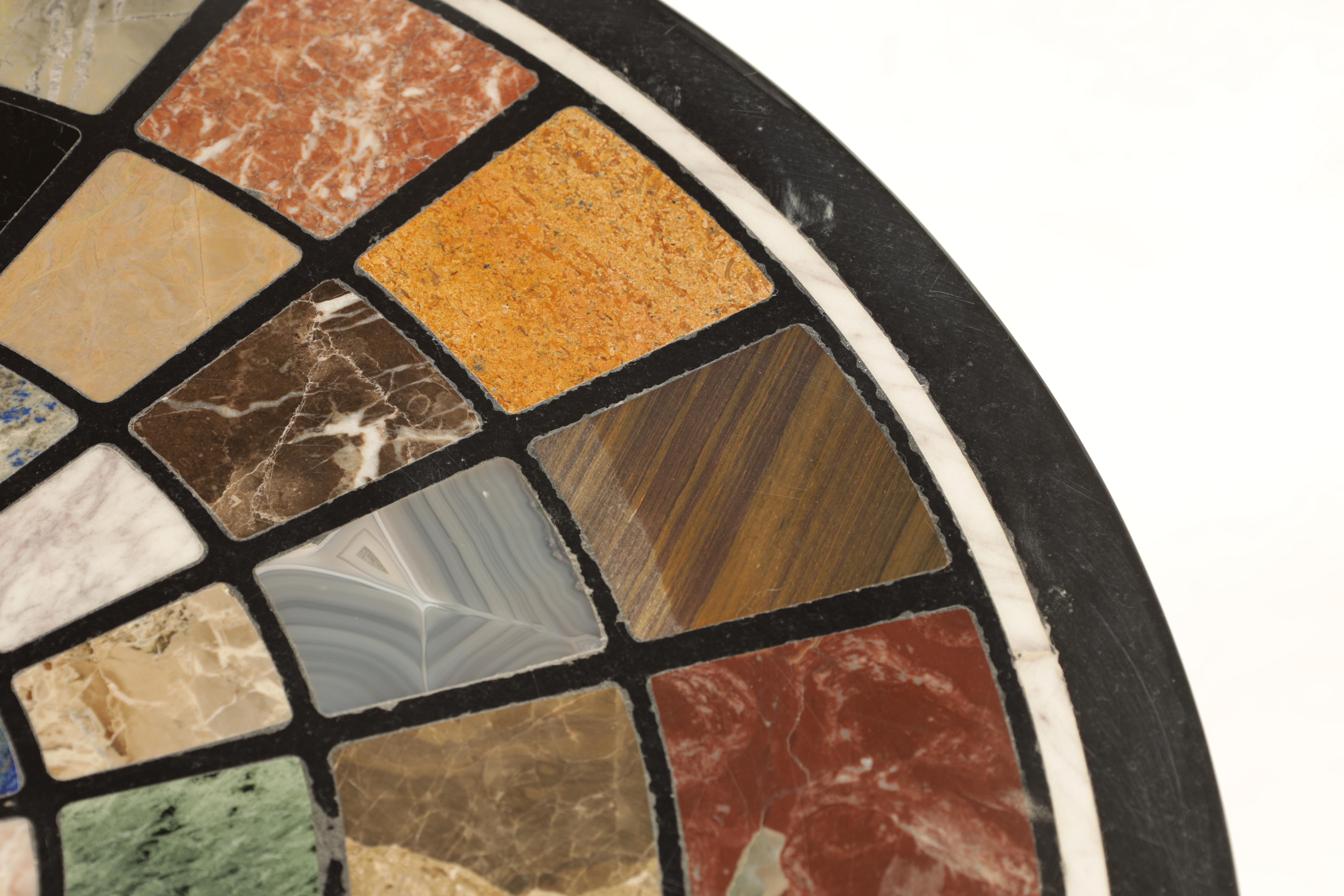 A 19TH CENTURY CAST IRON 'BRITTANIA' TABLE BASE WITH 20TH CENTURY SPECIMEN MARBLE TOP inlaid with - Image 5 of 7