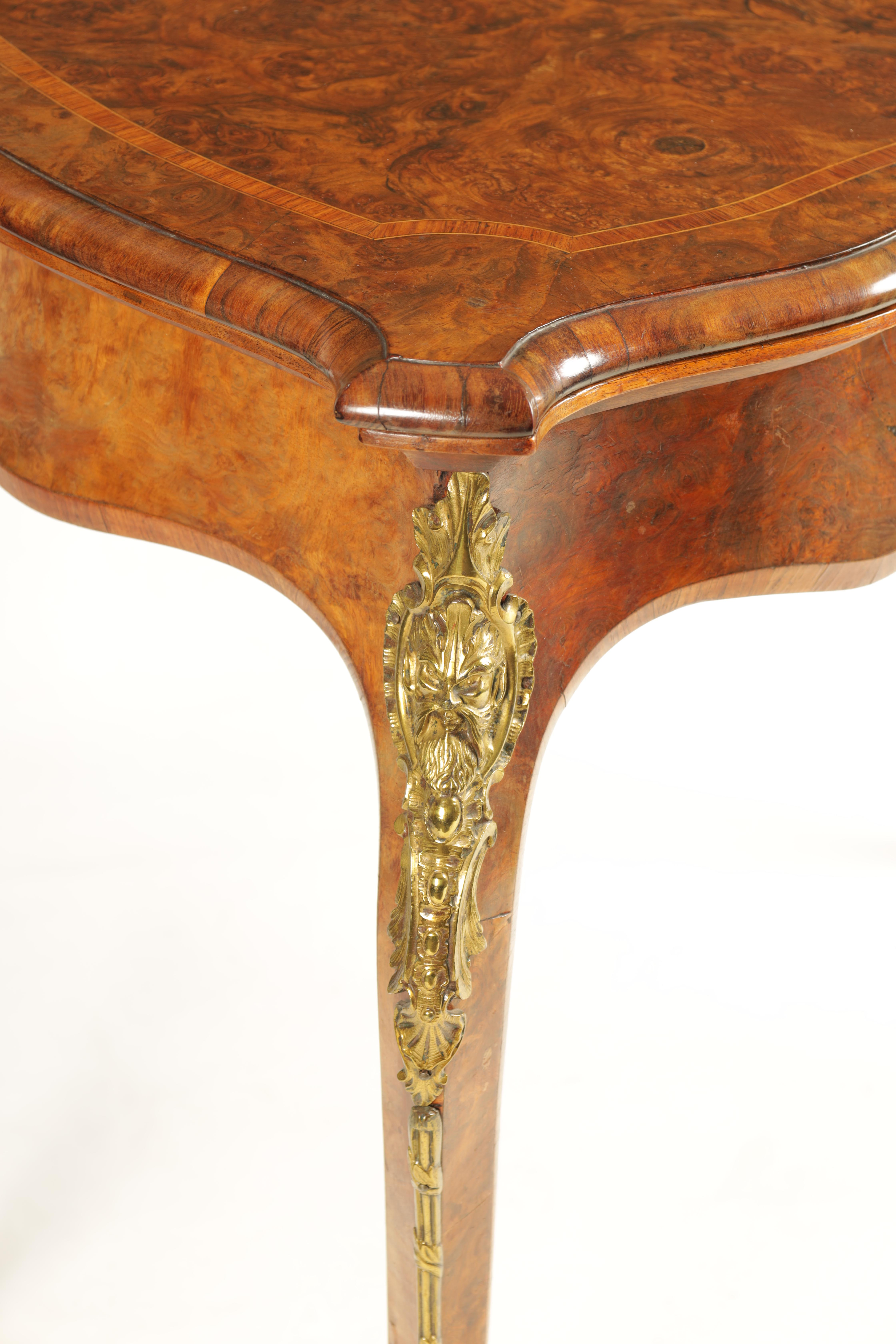 A 19TH CENTURY FRENCH KINGWOOD CROSS-BANDED BURR WALNUT SERPENTINE CARD TABLE with ormolu mounts and - Image 2 of 13