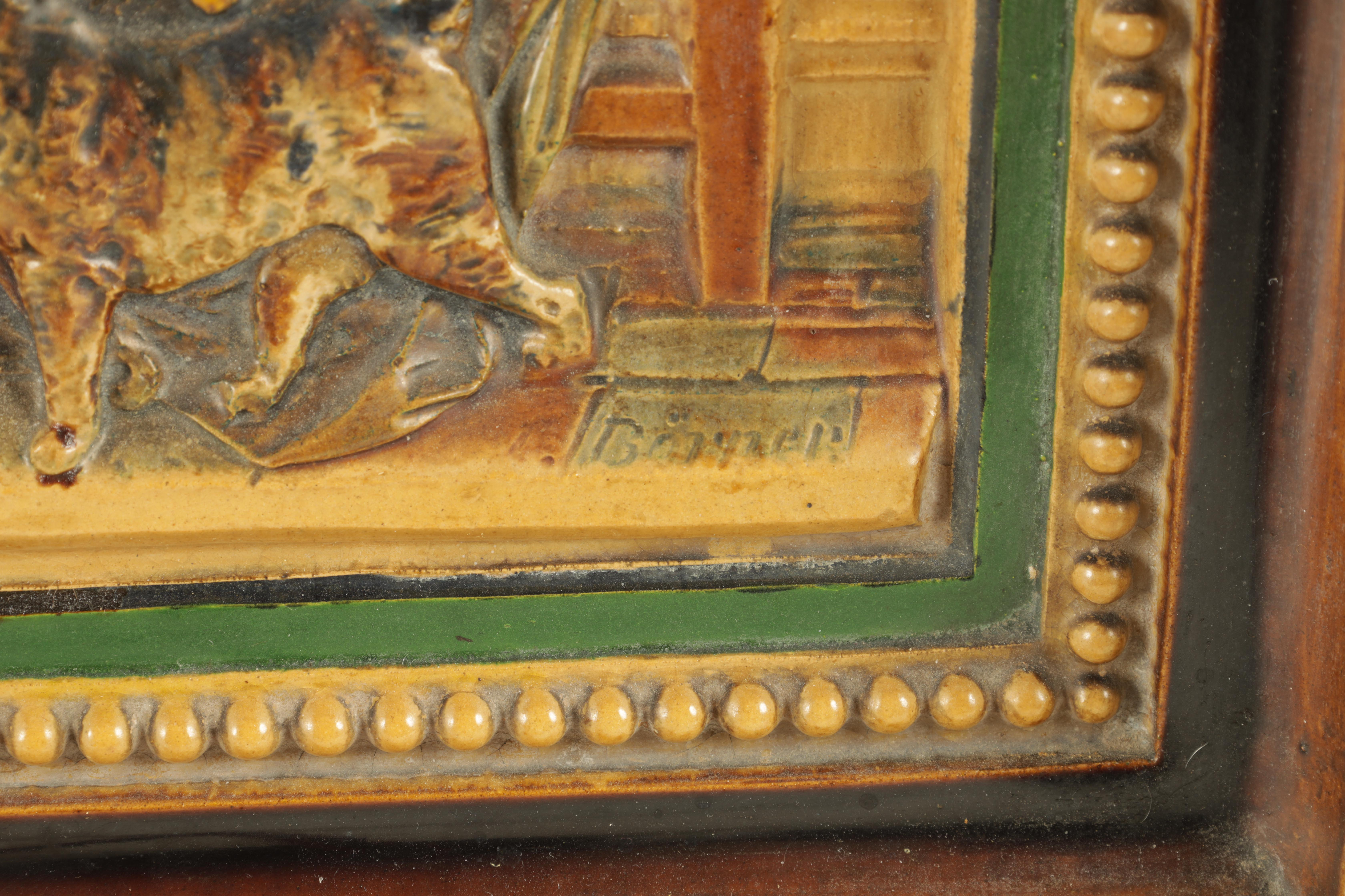 A 19TH CENTURY BORNER & BICHWEILER FIGURAL MAJOLICA HANGING PLAQUE decorated in polychrome colours - - Image 4 of 5