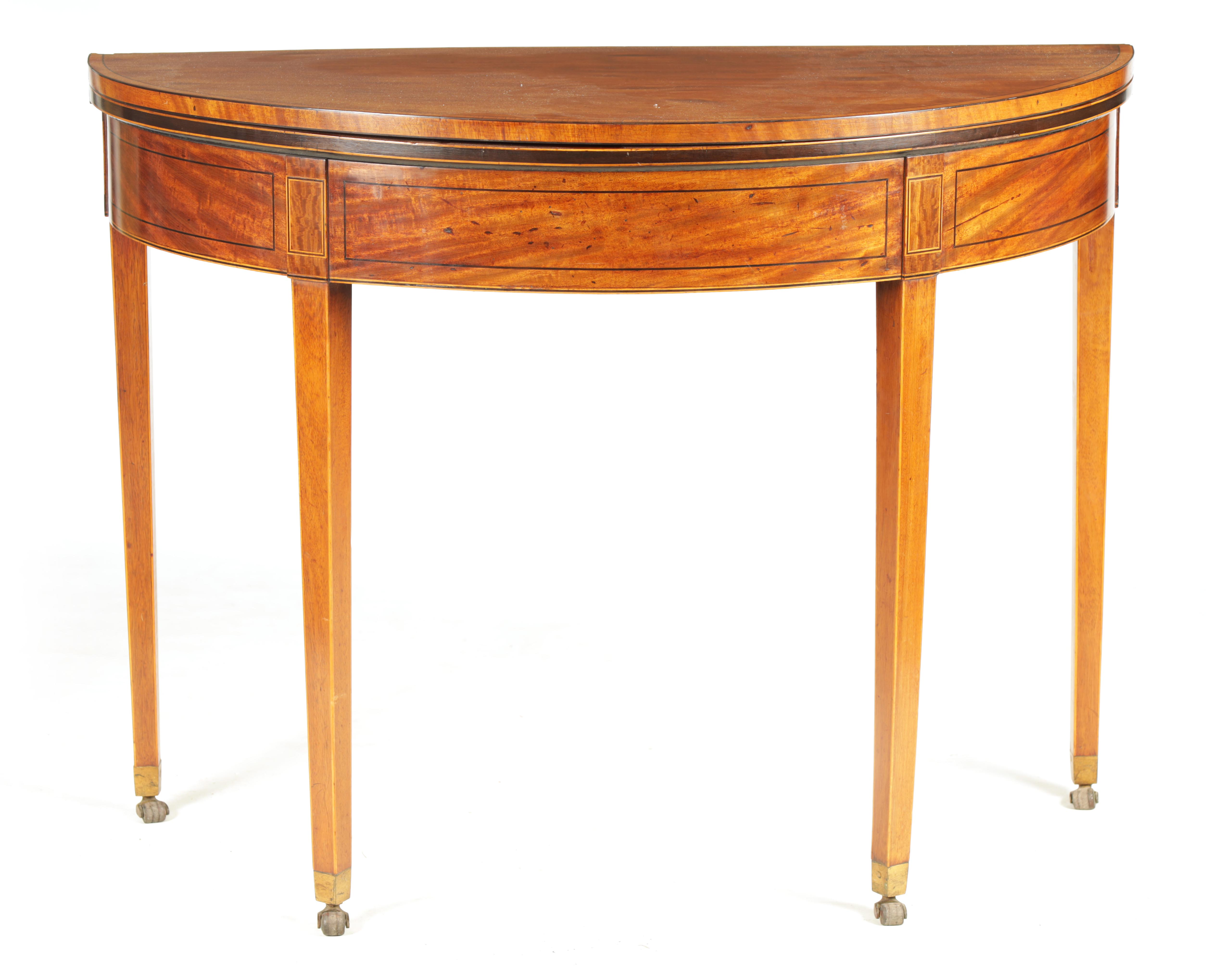 A GEORGE III FIGURED SATINWOOD D END TEA TABLE with hinged top and double gate rear legs; standing