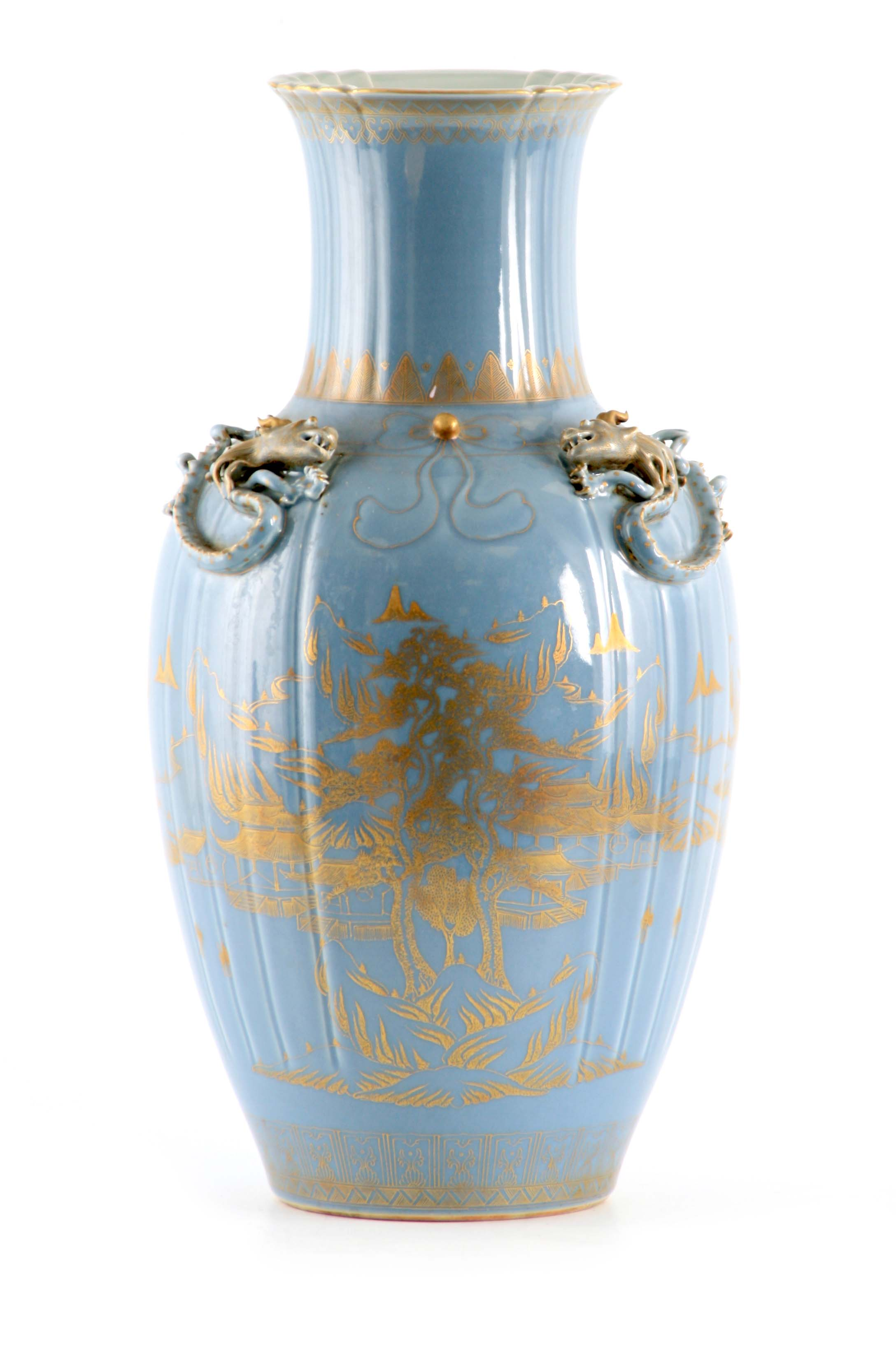 AN IMPRESSIVE 19TH CENTURY CHINESE BLUE AND GILT DECORATED VASE of ribbed shape with scrolled
