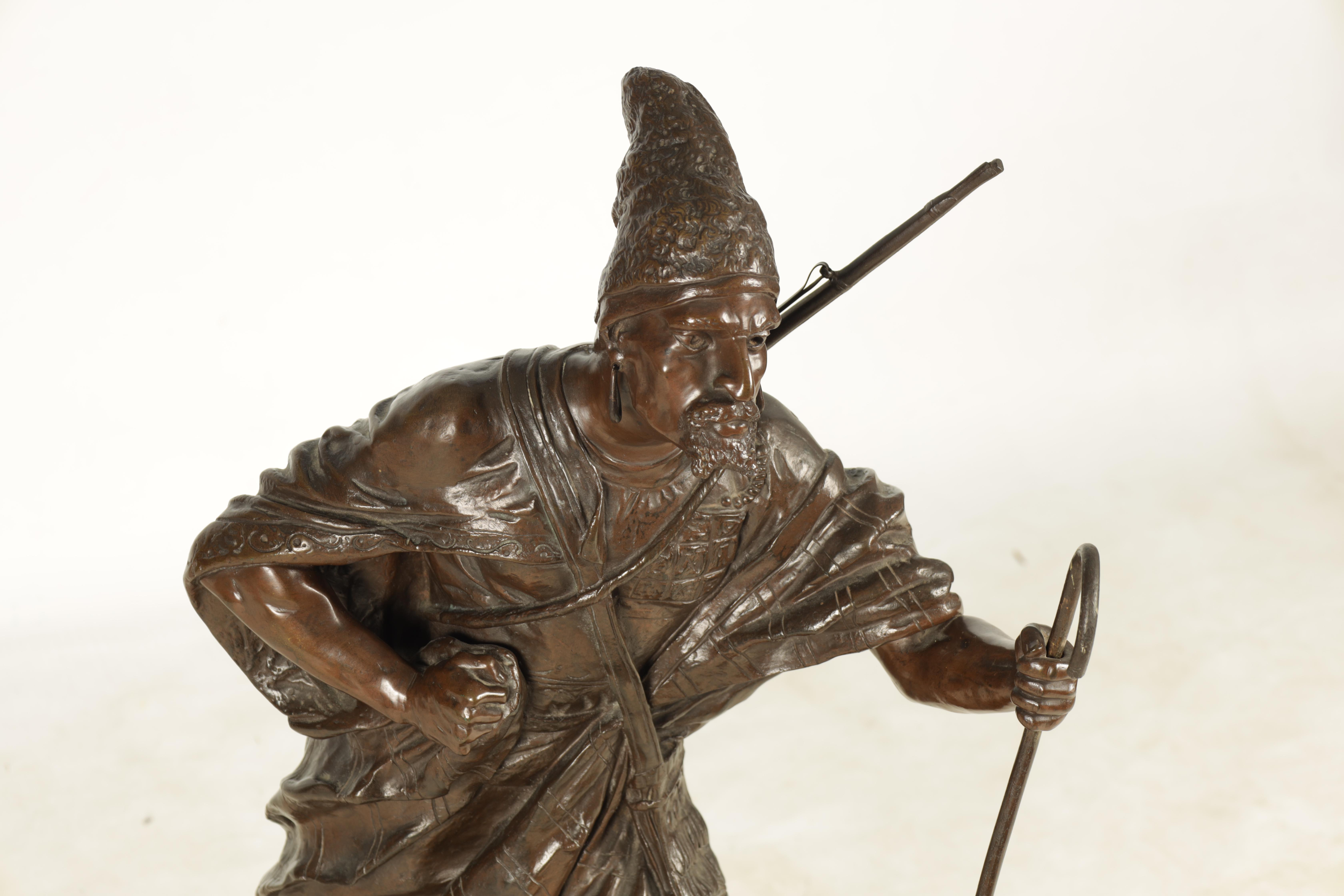 A 19TH CENTURY FRENCH FIGURAL BRONZE depicting an Eastern male figure walking with shepherds crook - Image 2 of 5