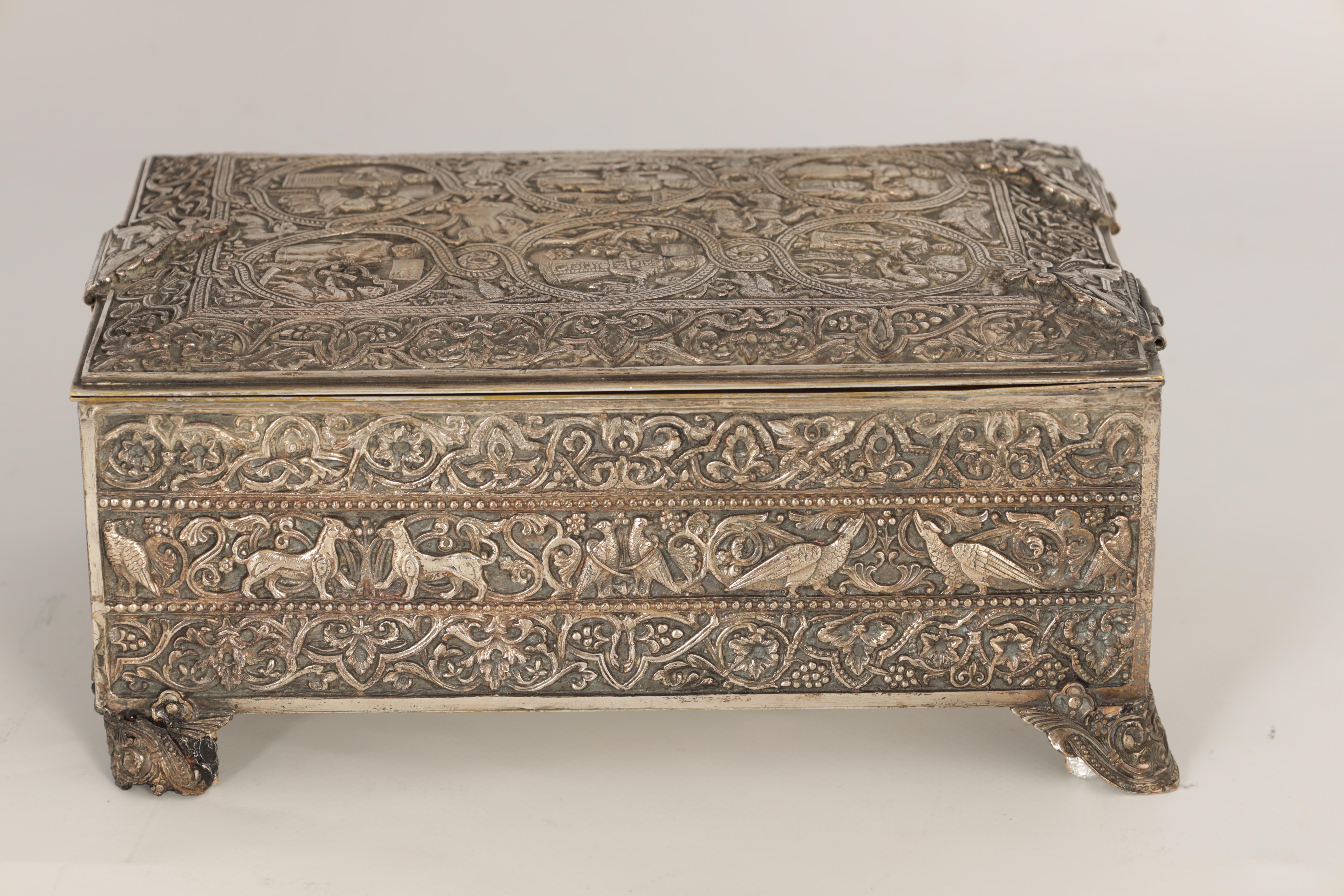 A 19TH CENTURY SILVERED BRONZE JEWELLERY CASKET the lid with intricate relief groups of birds, - Image 8 of 12