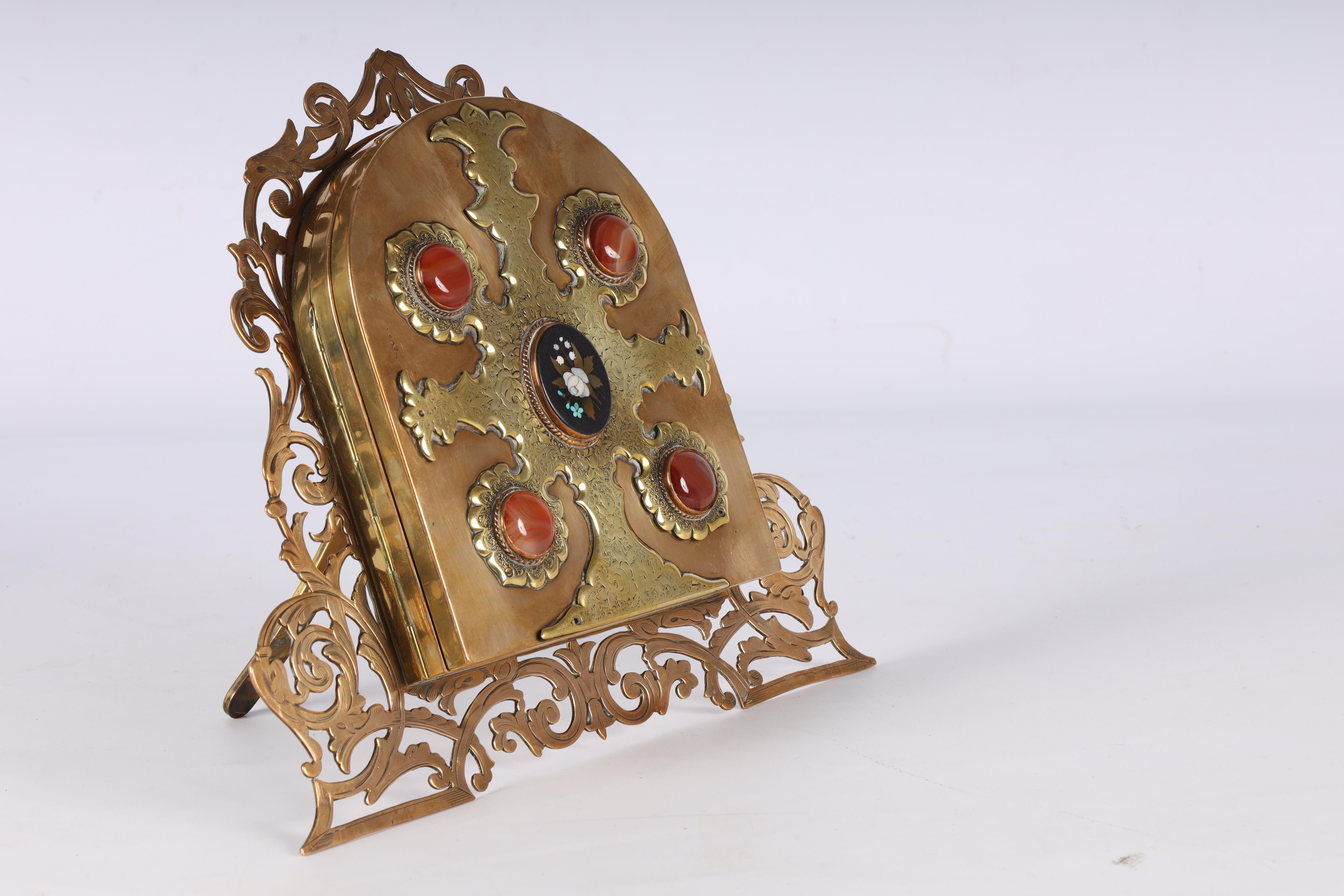 A LATE 19TH CENTURY PIERCED AND ENGRAVED BRONZE FOLDING PHOTOGRAPH FRAME the front with four - Image 6 of 8