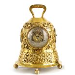 A LATE 19TH CENTURY FRENCH NOVELTY GOTHIC BRASS MANTEL CLOCK COMPENDIUM formed as a church bell with