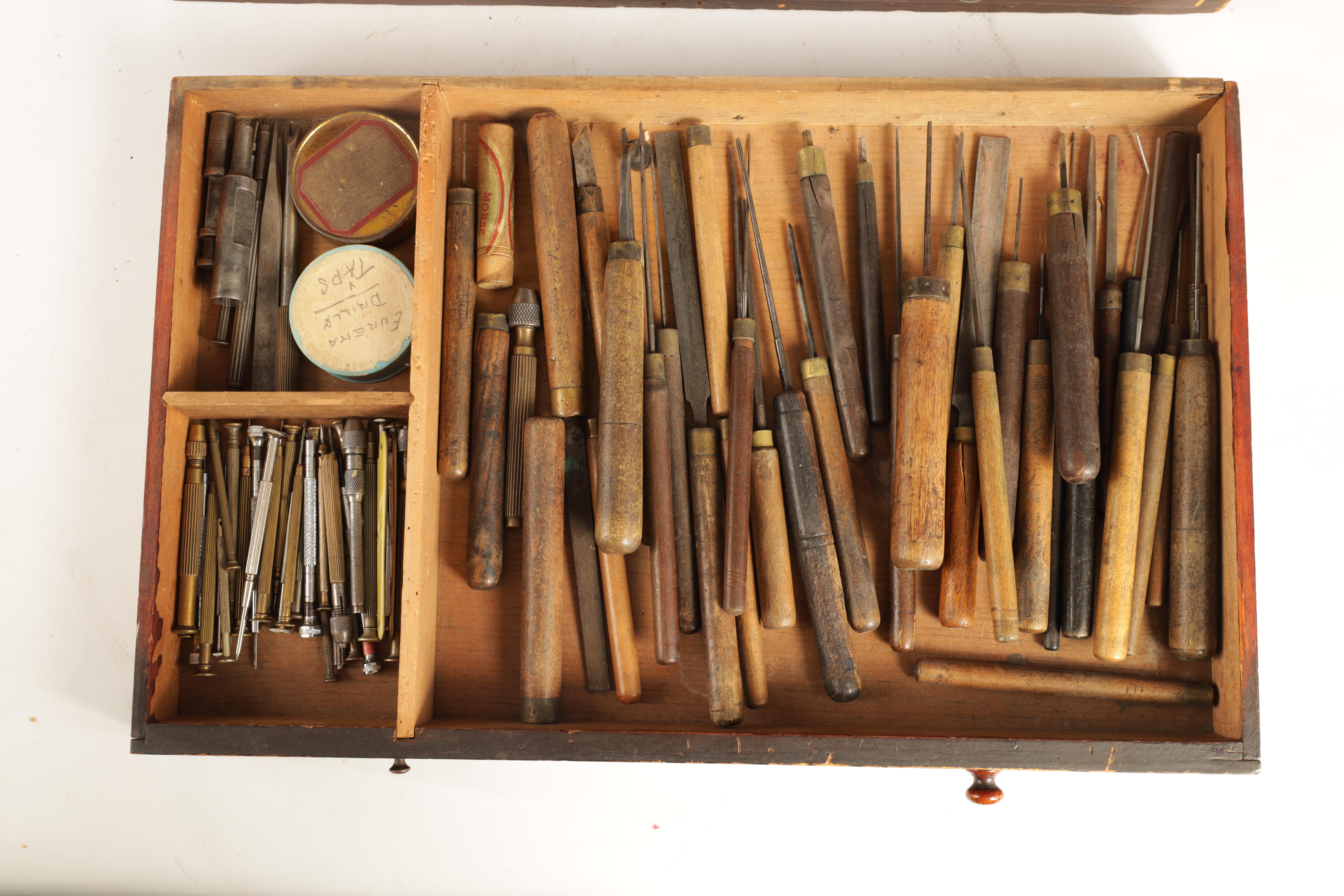A LARGE COLLECTION OF JEWELERS AND WATCHMAKERS TOOLS contained in a set of pine drawers - Image 6 of 12