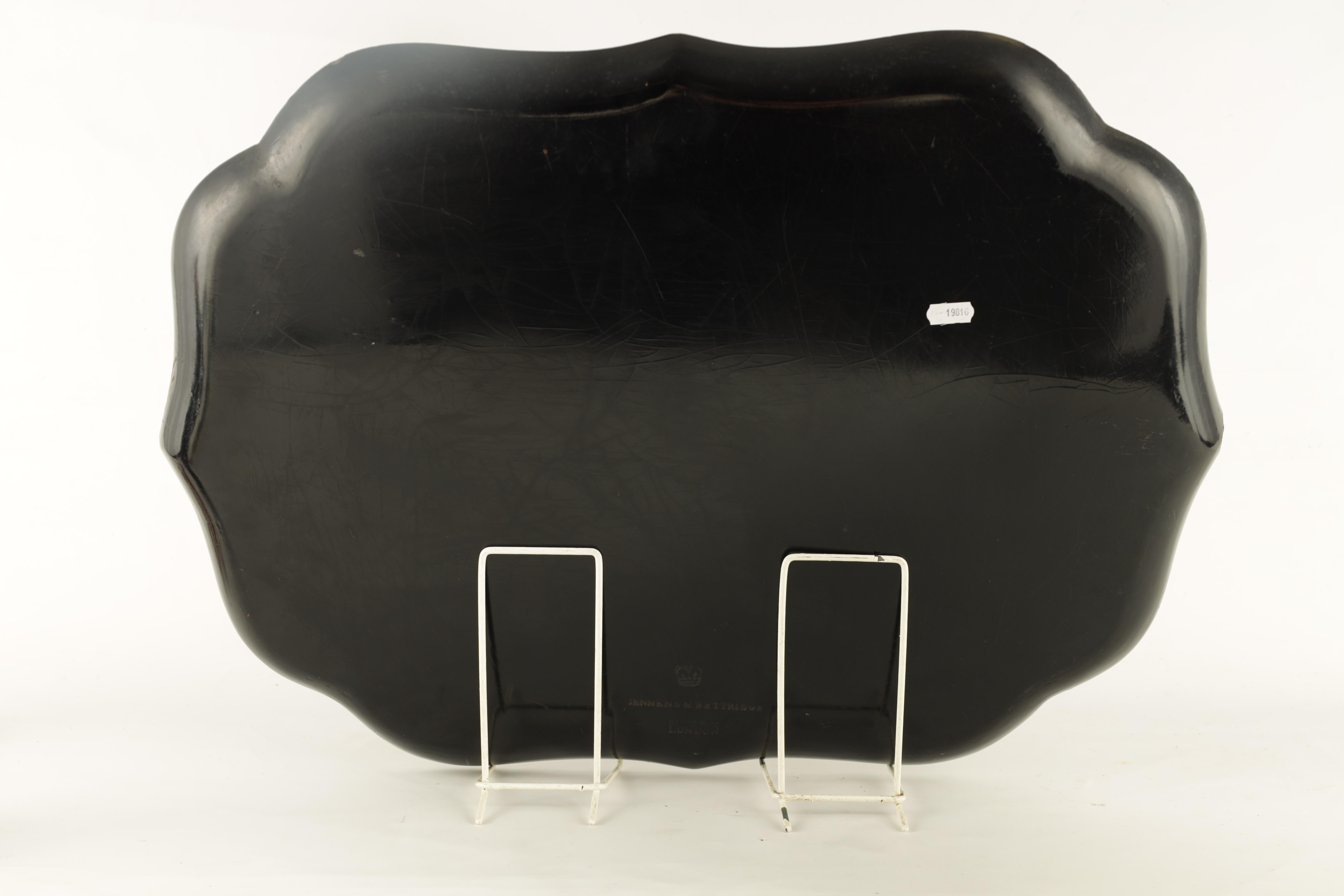 A GOOD 19TH CENTURY SCALLOP EDGE BLACK LACQUER TRAY BY JENNENS AND BETTRIDGE, LONDON having an - Image 3 of 4