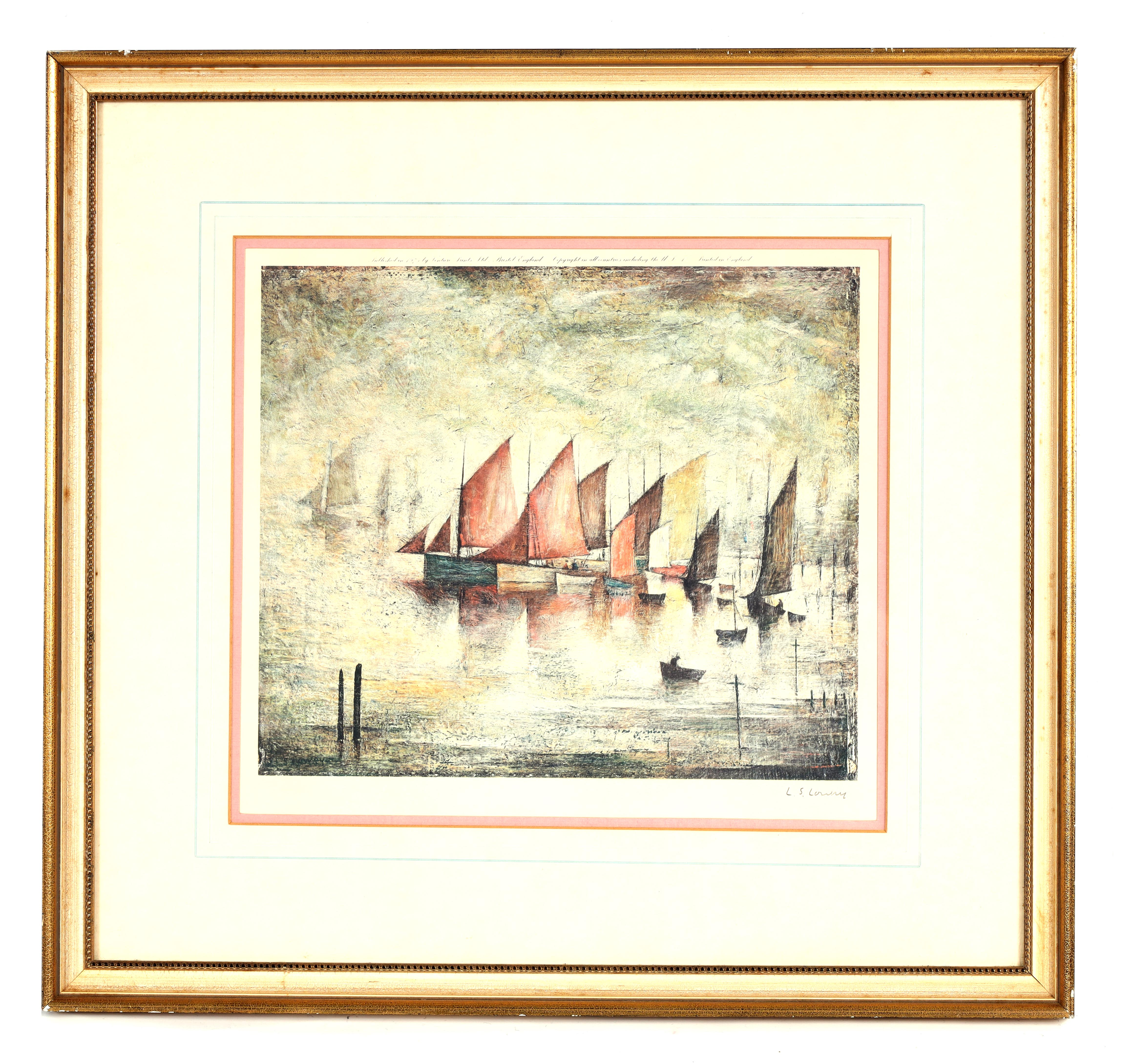 A.R.R. LAURENCE STEPHEN LOWRY (1887-1976) SIGNED PRINT 'SAILING BOATS' signed in pencil in the