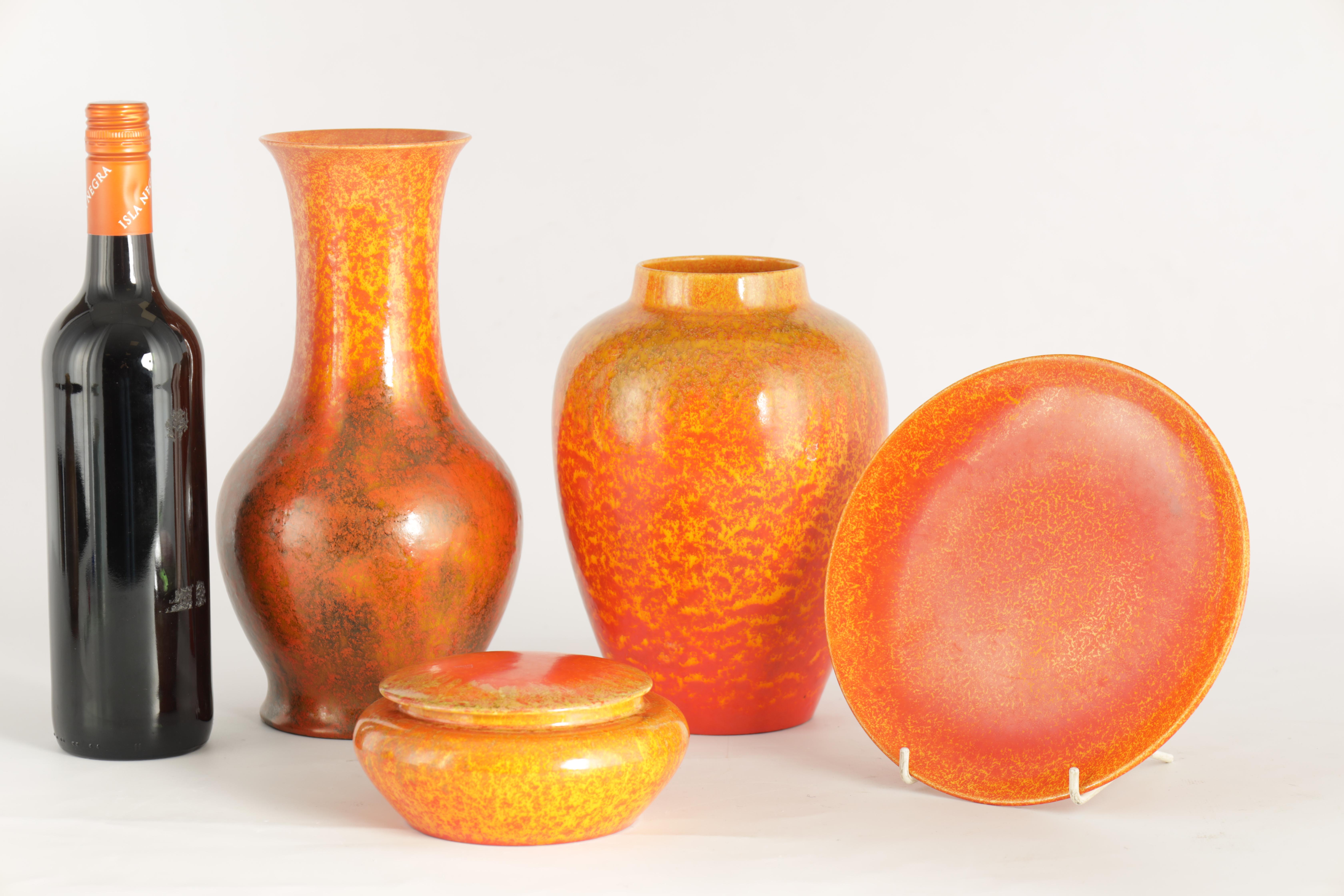 A GROUP OF FOUR PIECES OF ROYAL LANCASTRIAN WARE comprising a tapering shouldered vase, a baluster - Image 2 of 12
