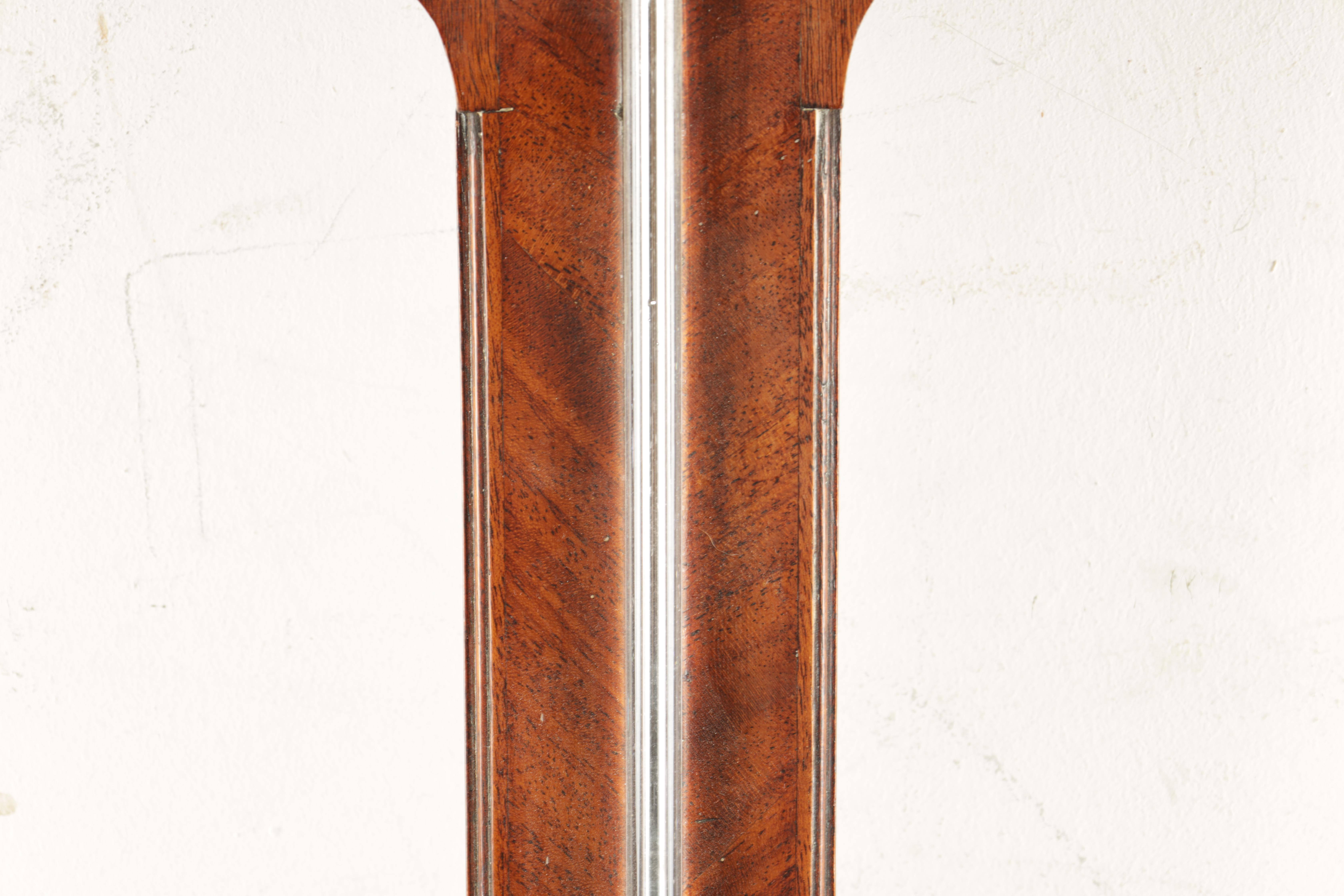 F. BOVERIL, 9 EYRE STREET, HILL, LONDON A GEORGE III MAHOGANY STICK BAROMETER the case with arched - Image 2 of 6