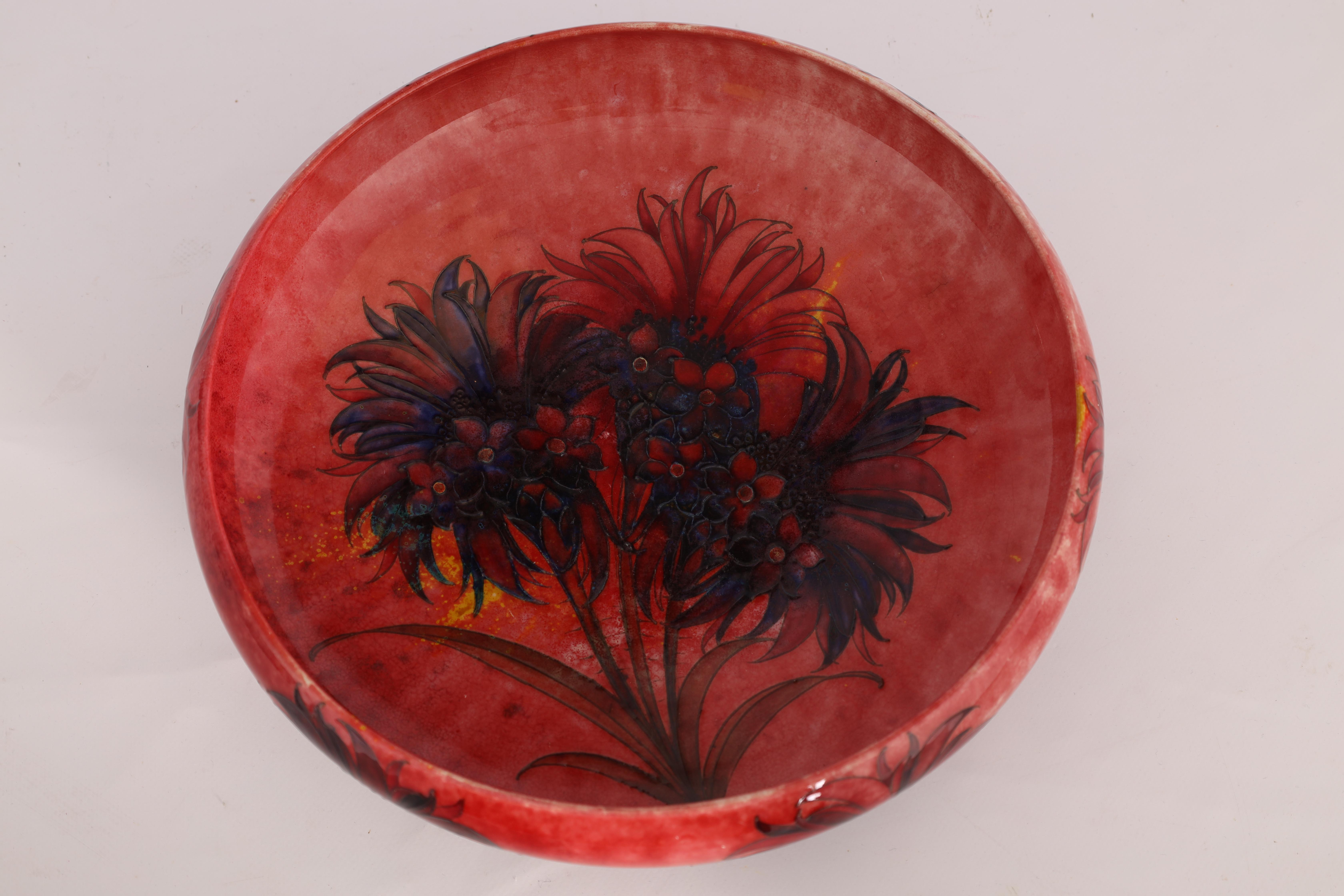A WILLIAM MOORCROFT OVERSIZED FOOTED SHALLOW BOWL WITH CURVED RIM decorated with a multicoloured - Image 6 of 10