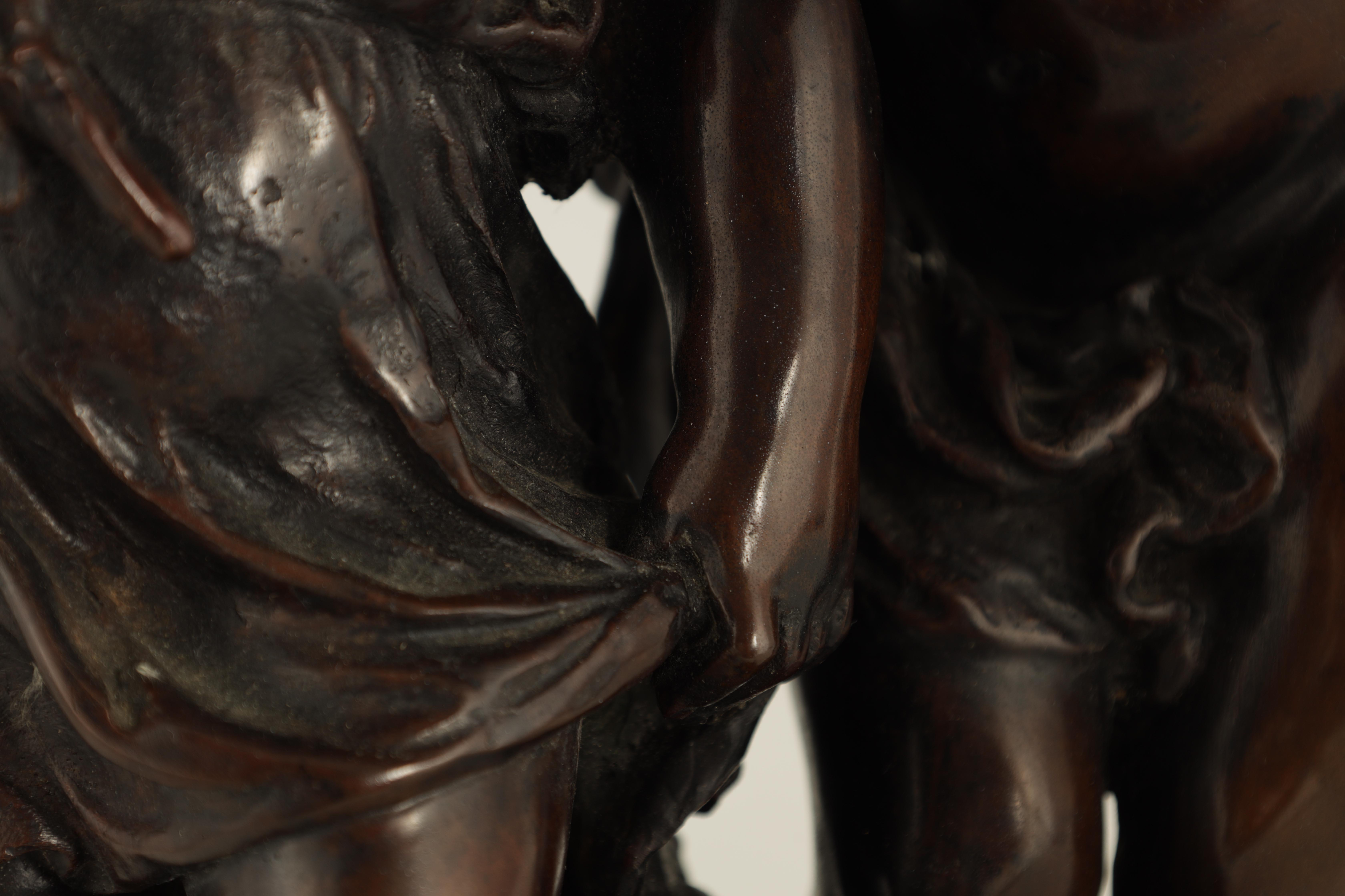 A 19TH CENTURY STYLE FRENCH BRONZE FIGURE GROUP depicting a young male and female -signed R.MOREAV - - Image 3 of 9