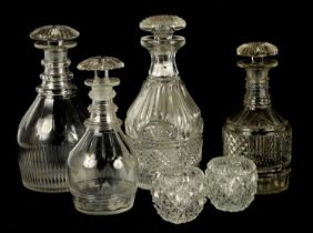 A COLLECTION OF FOUR LATE GEORGIAN CUT GLASS DECANTERS