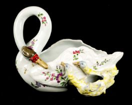 A 19TH CENTURY EMILE GALLE FRENCH FAIENCE FLOWER BOWL MODELLED AS A SWAN WITH TWO SIGNETS