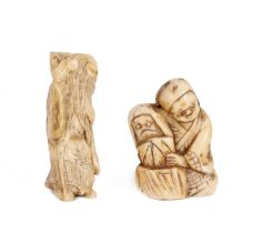 TWO MEIJI PERIOD JAPANESE CARVED IVORY NETSUKES