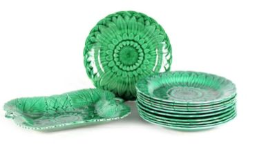 A COLLECTION OF ELEVEN 19TH CENTURY WEDGWOOD GREEN MAJOLICA PLATES