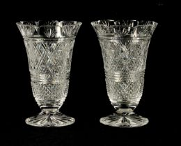 A GOOD PAIR OF WATERFORD CUT CRYSTAL TRUMPET-SHAPED FOOTED VASES