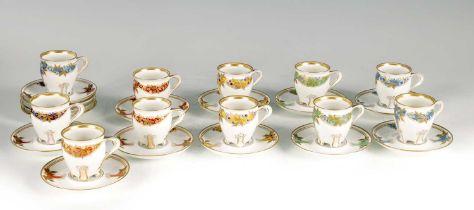 A SET OF TEN ART NOUVEAU KPM PORCELAIN COFFEE CUPS AND SAUCERS