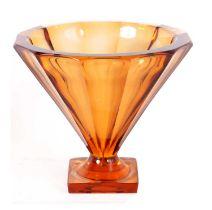 A LARGE FRENCH ART DECO DAUM NANCY AMBER GLASS VASE