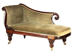 A REGENCY ROSEWOOD AND BRASS INLAID DAY BED/CHAISE LONGUE