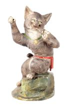 A LATE 19TH CENTURY FRENCH PAINTED TERRACOTTA FIGURE OF A HUMOROUS CAT